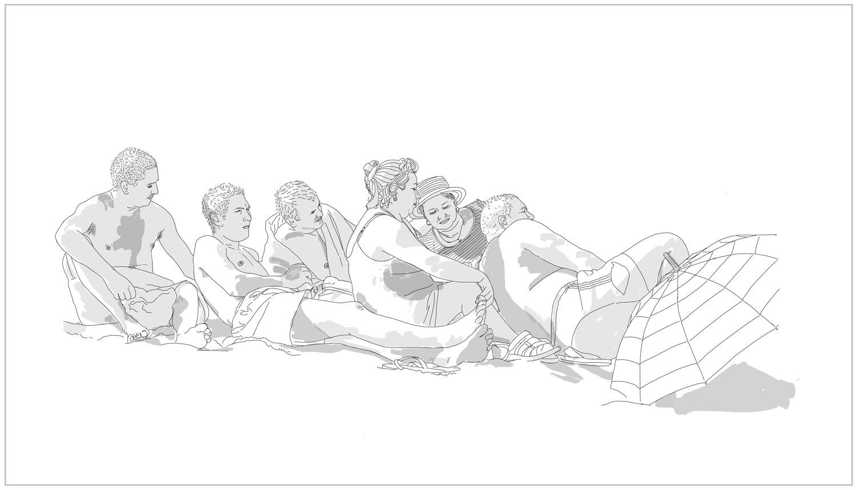 @2016, Malayka Gormally,  Family At The Beach .iPad drawing, dimensions variable.