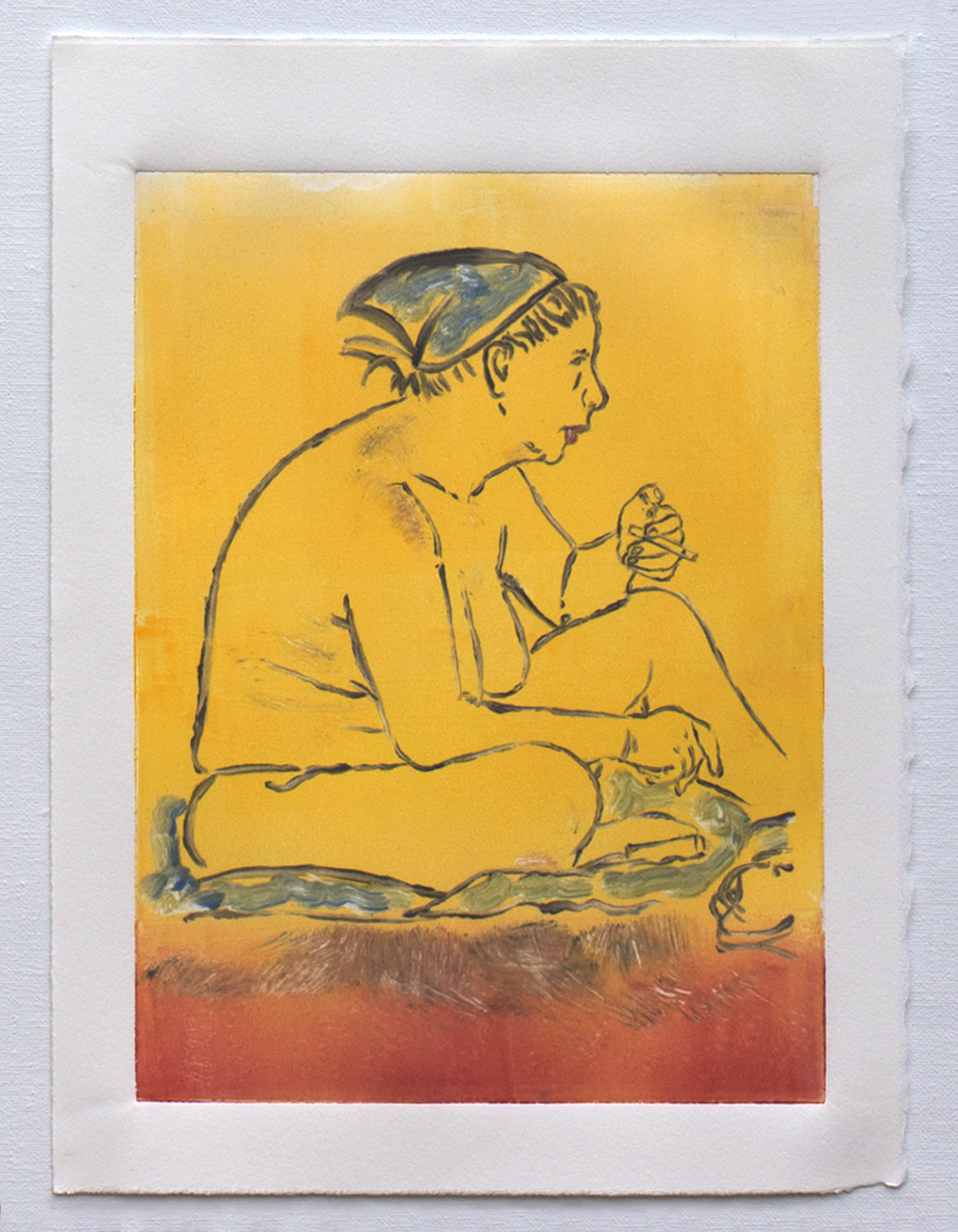 "@2016, Malayka Gormally,  One of the Three Graces at the Beach . Monotype print, 15"" x 11""."