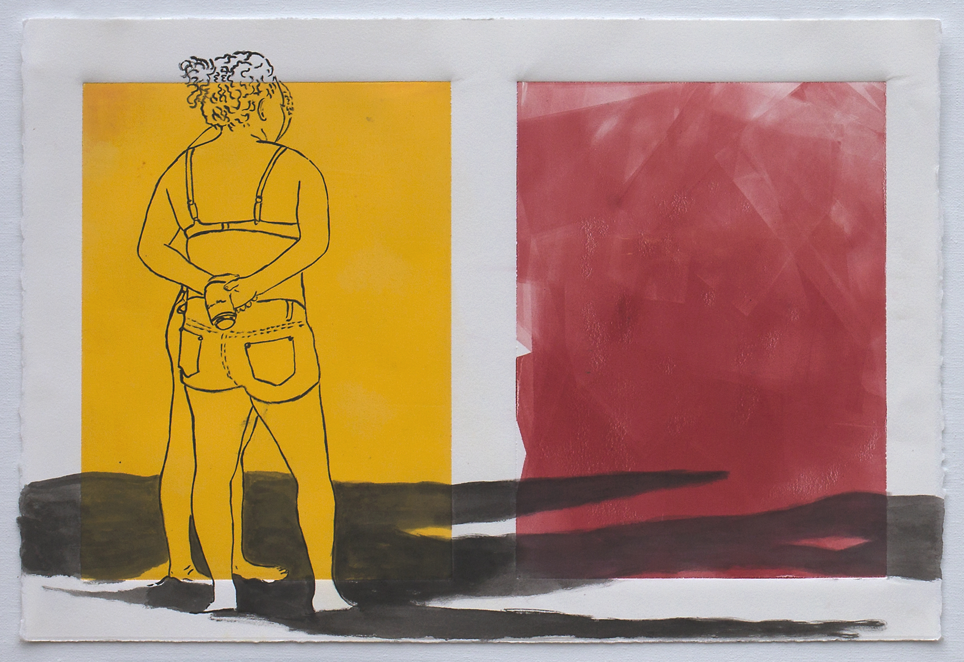"@2016, Malayka Gormally,  Shadows . India ink over monotype print, 15"" x 22""."