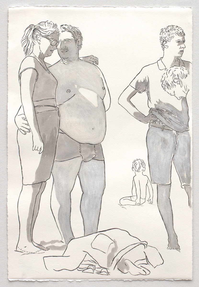 "@2017, Malayka Gormally,  Odd Couple . India ink, gouache, gesso on paper, 22"" x 15""."