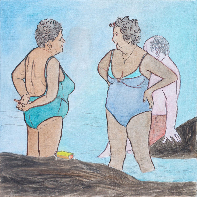 """@2016, Malayka Gormally,  Bathing Ladies . Oil on linen, 24"""" x 24""""."""