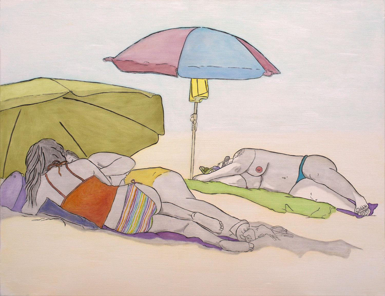 "@2017, Malayka Gormally,  Under The Umbrella . Oil on canvas, 24"" x 30""."