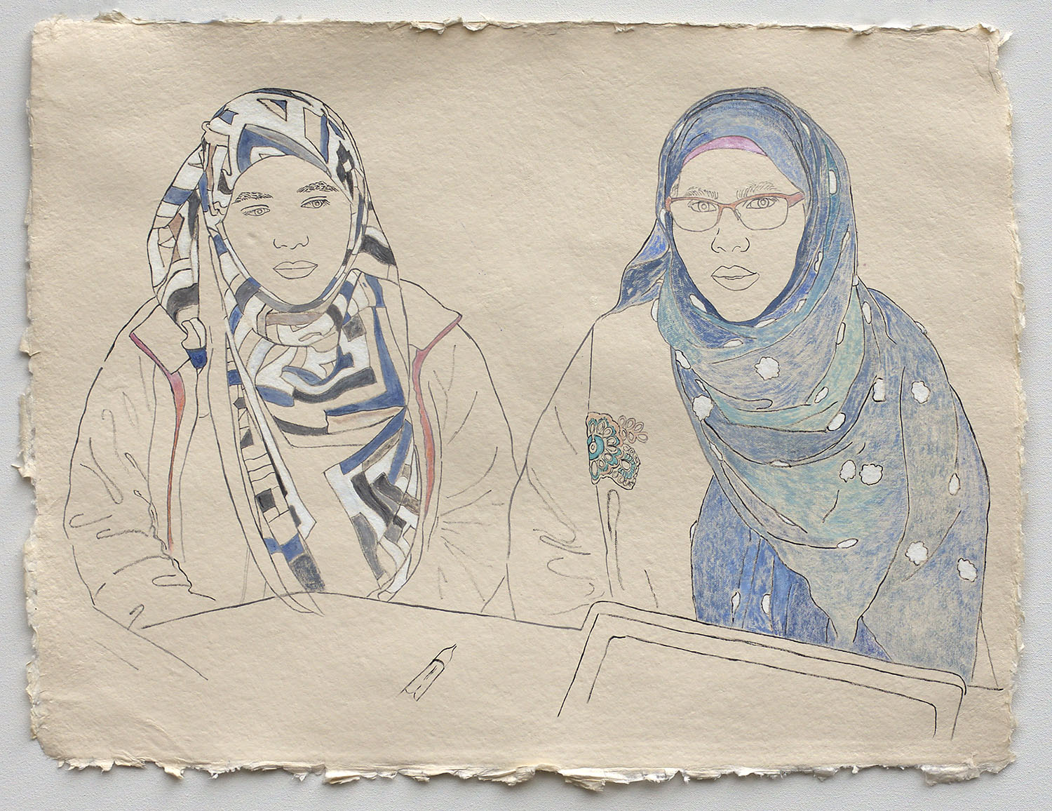 """Mother and Daughter, Applying for U.S. Citizenship  2019, ink, watercolor, gouache on handmade paper made in India from recycled clothing, 19"""" x 25"""""""
