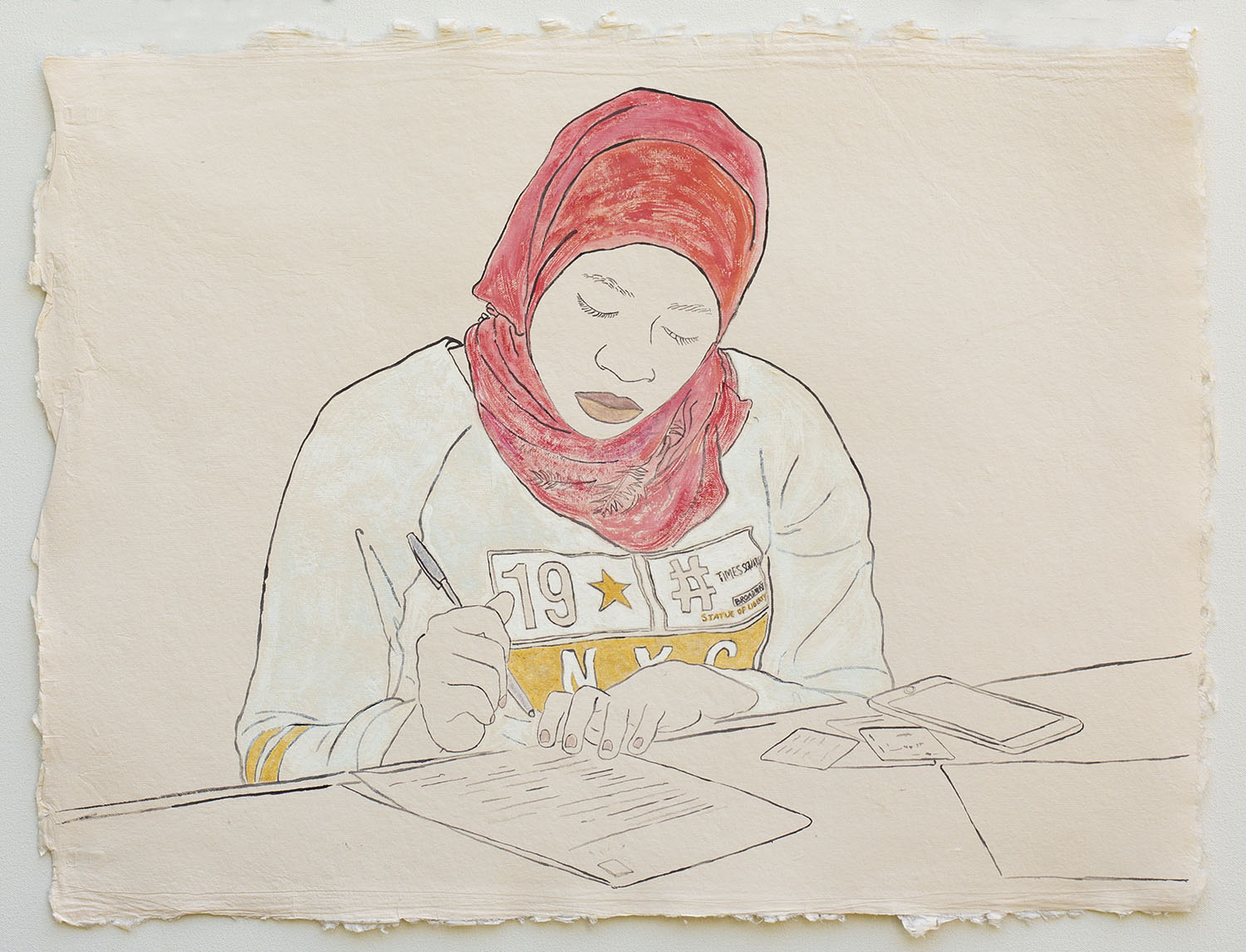 """Woman in NYC Shirt, Applying for U.S. Citizenship  2019, ink, watercolor, gouache on handmade paper made in India from recycled clothing, 19"""" x 25"""""""
