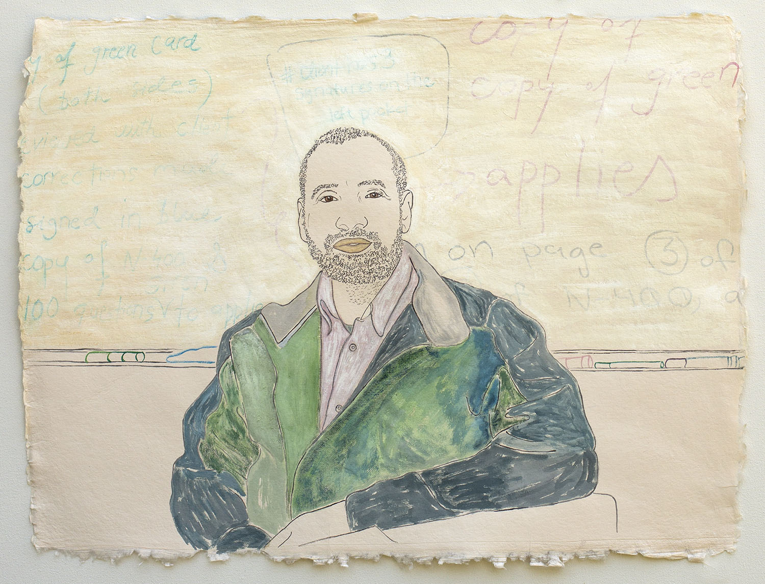 """Man in Front of a Whiteboard, Applying for U.S. Citizenship  2019, ink, watercolor, gouache on handmade paper made in India from recycled clothing, 19"""" x 25"""""""