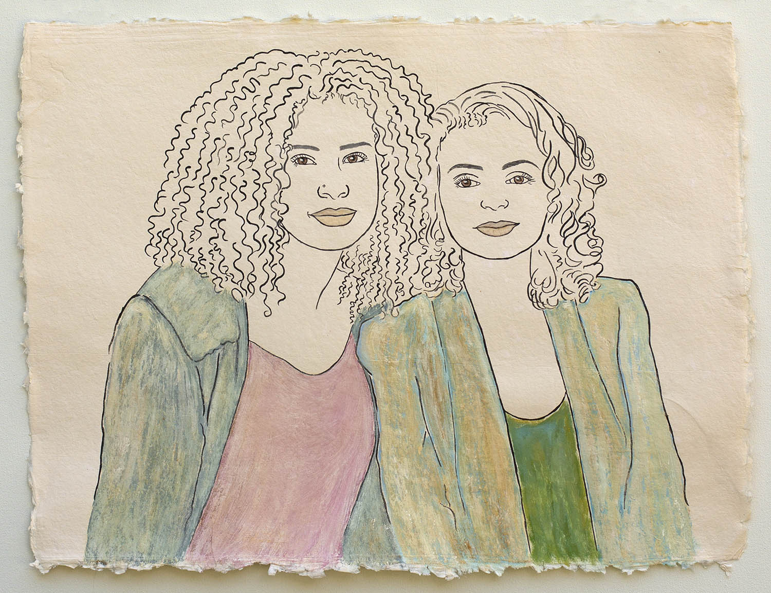 """Two Friends at the Ethiopian Community in Seattle   2018, ink on handmade paper, 25x19"""""""