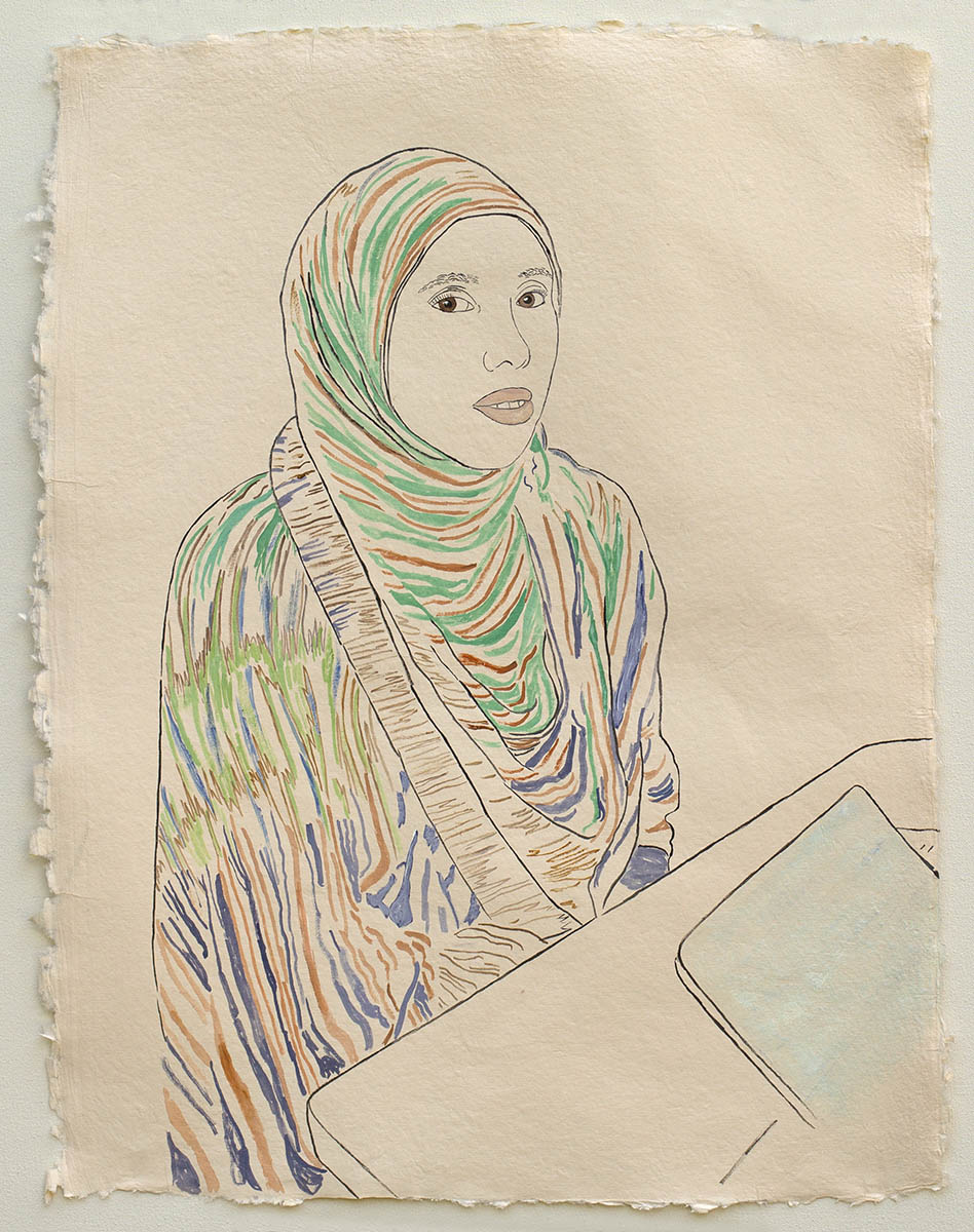 """Woman in Blues and Greens, Applying for U.S. Citizenship  2019, ink, watercolor, gouache on handmade paper made in India from recycled clothing, 25"""" x 19"""