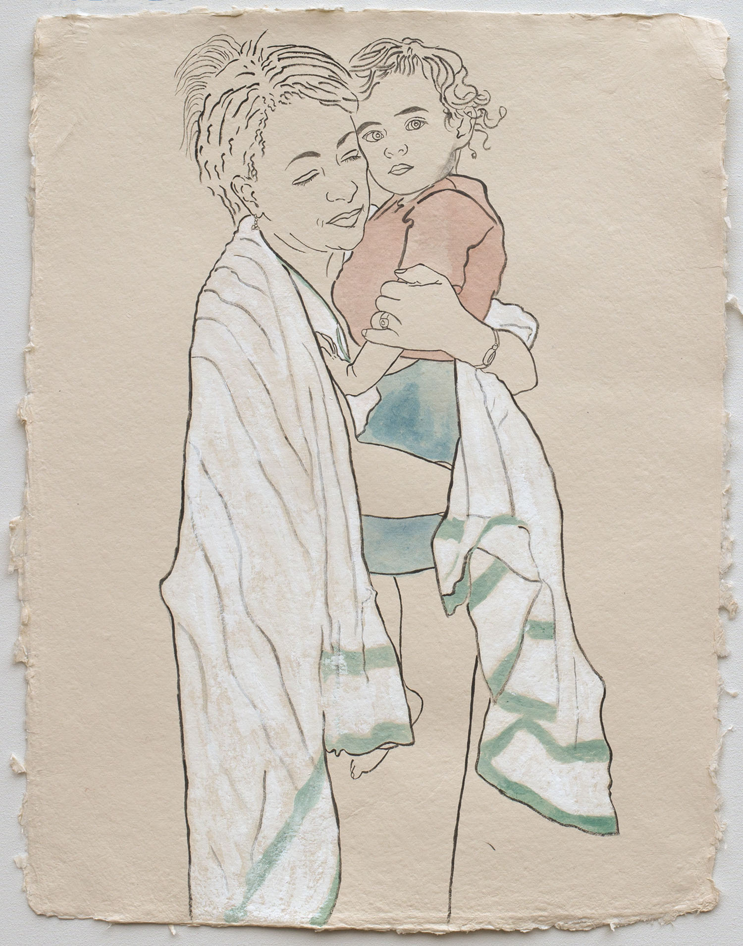 """Grandmother and Grandson, Members of the Ethiopian Community in Seattle   2017, ink, watercolor, gouache on handmade paper, 25x19"""""""