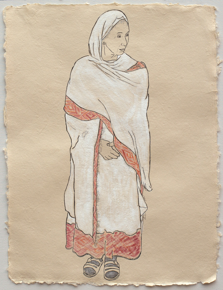 """Woman in White, Member of the Ethiopian Community in Seattle  2017, Ink, watercolor, gouache on handmade paper made in India from recycled clothing, 25"""" x 19"""""""