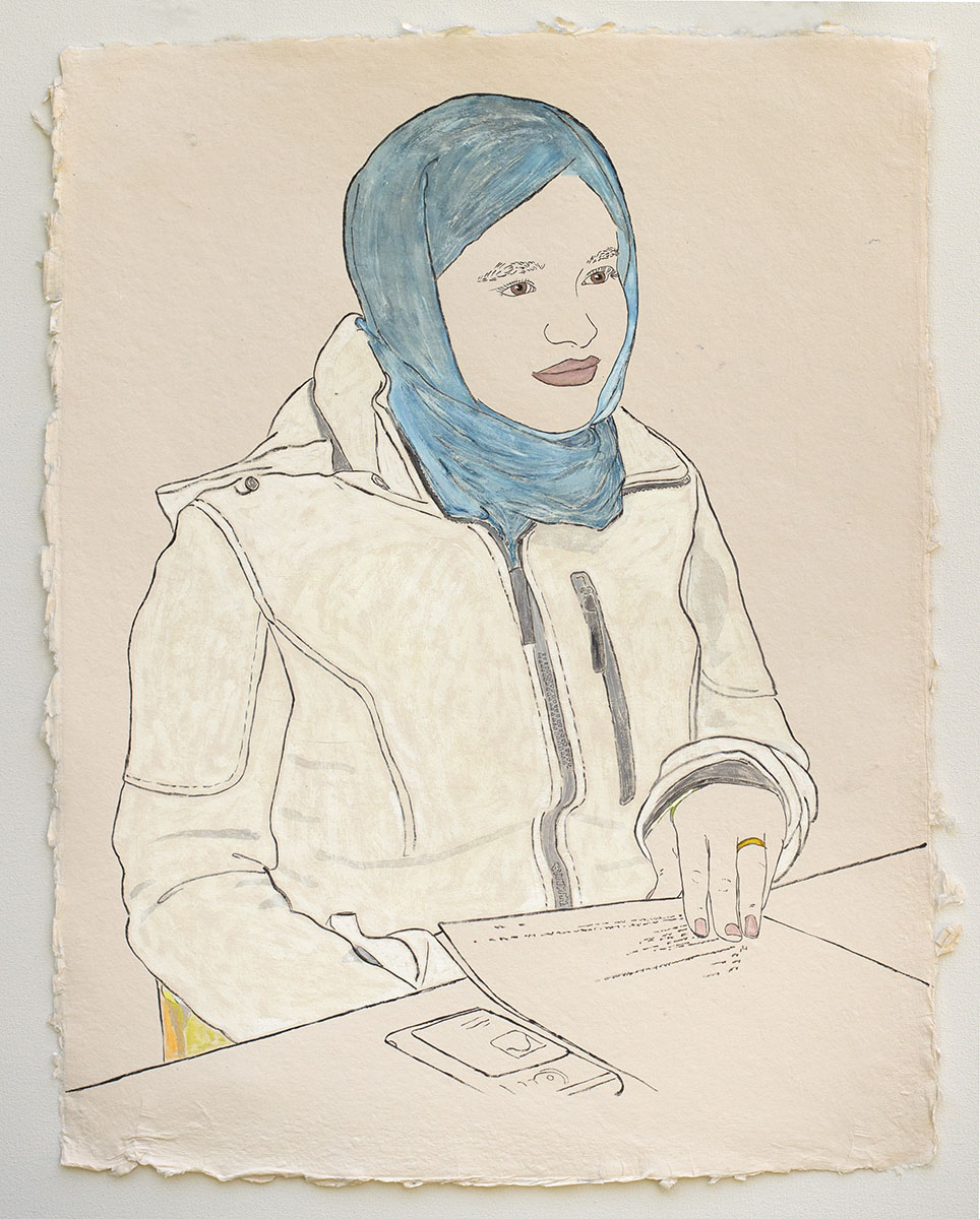 """Young Woman Applying for United States Citizenship    2018, ink, watercolor, and gouache on handmade paper, 25"""" x 19"""""""