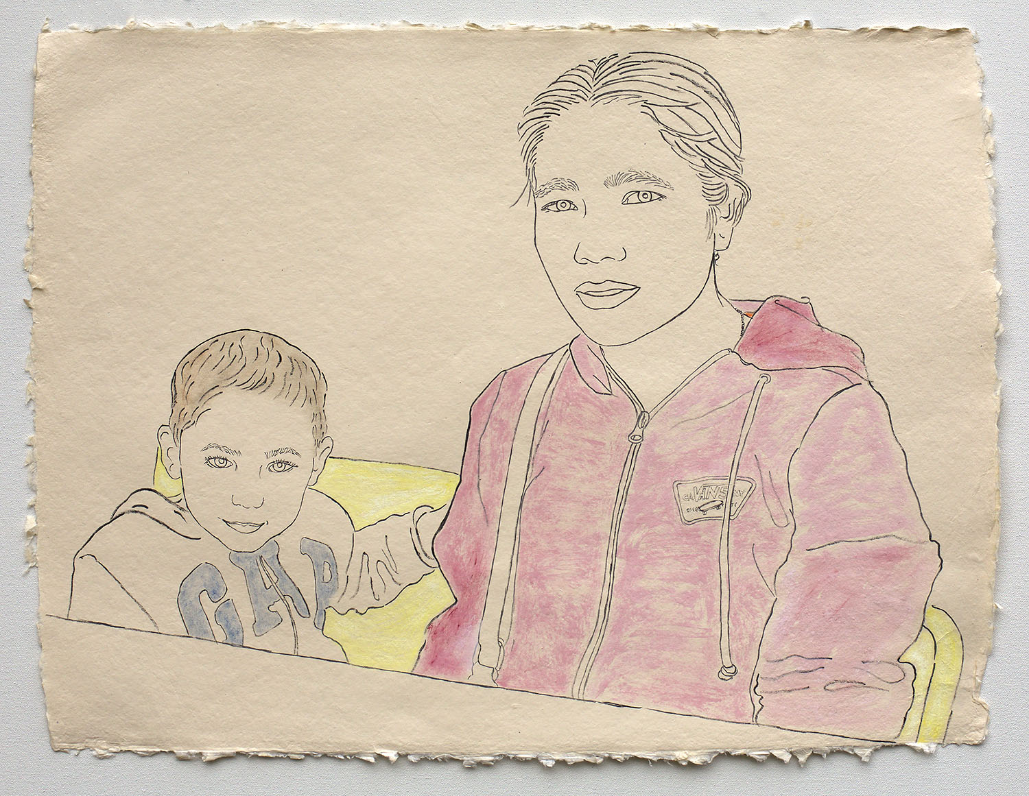 """Mother with Son, Applying for U.S. Citizenship  2019, ink, watercolor, gouache on handmade paper made in India from recycled clothing, 19"""" x 25"""""""