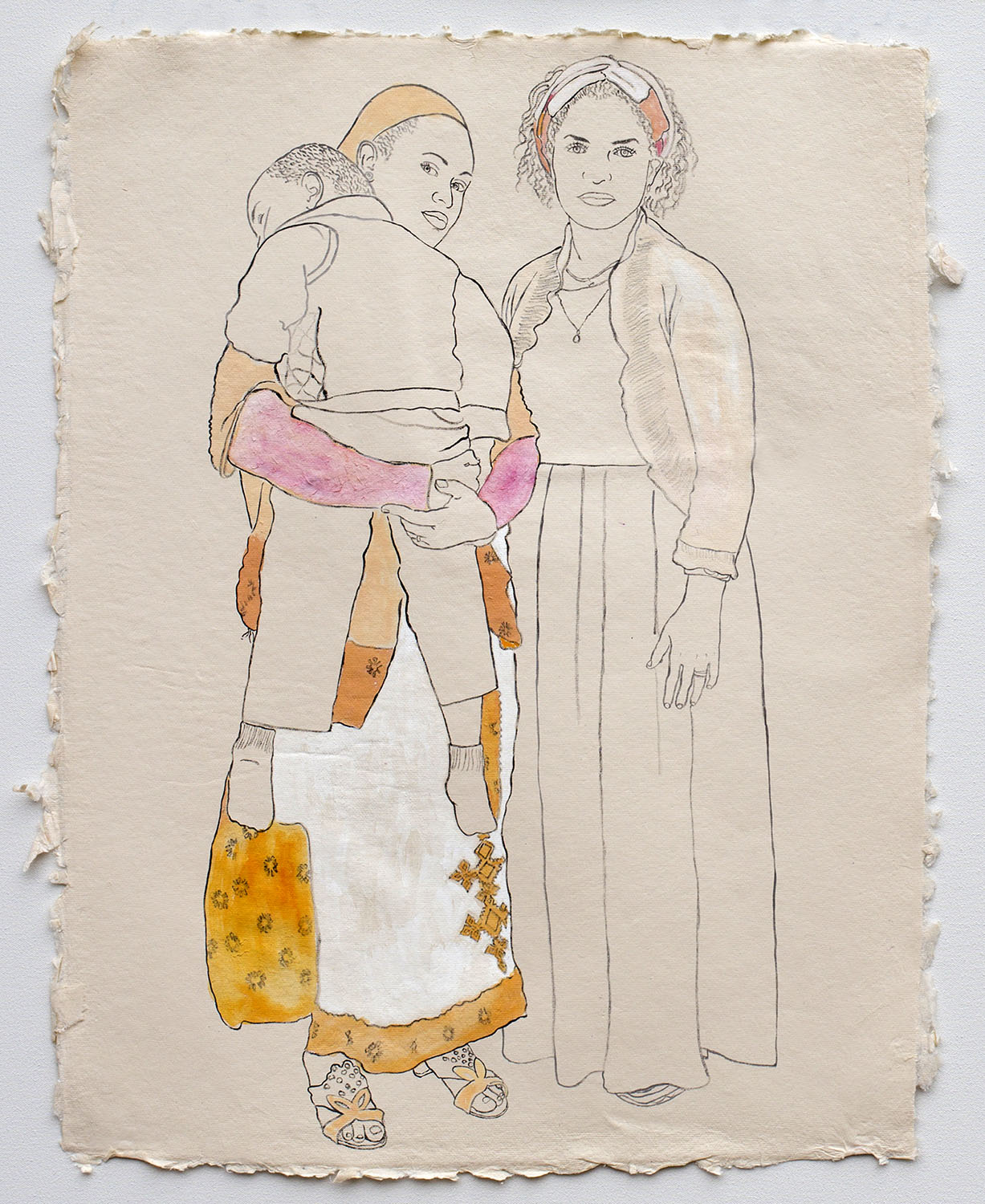 """Young Mothers, Members of the Ethiopian Community in Seattle  2017, ink, watercolor, and gouache on handmade paper made in India from recycled clothing, 25"""" x 19"""""""