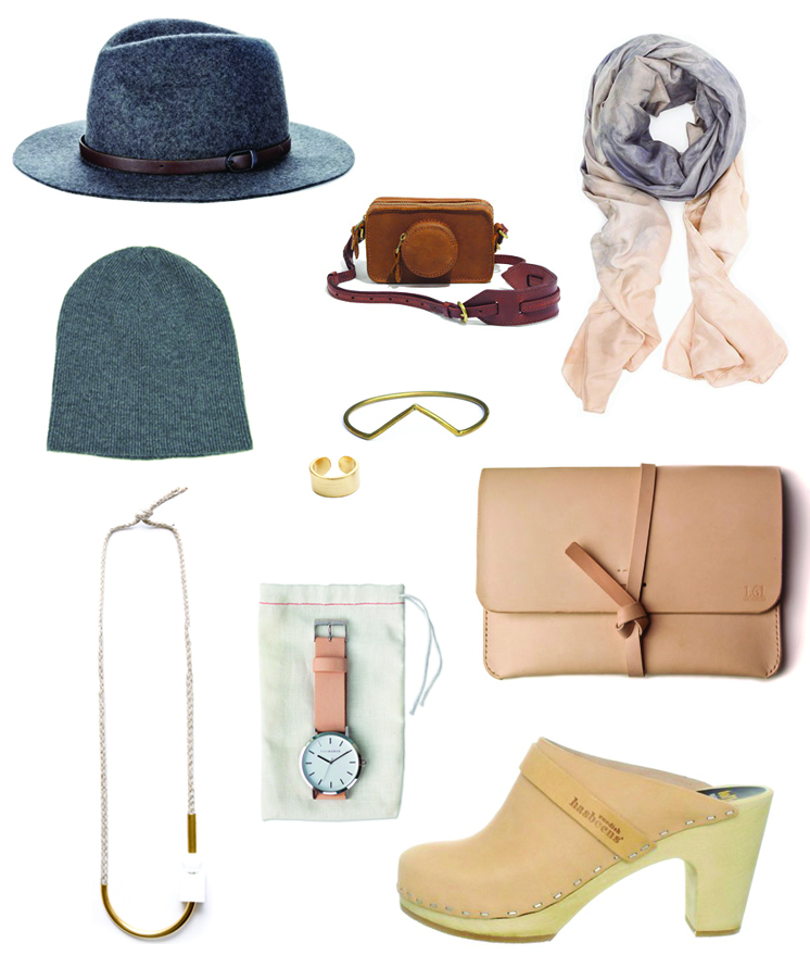 1.  sole society   2.  Madewell leather camera bag  3.  Willow Knows silk scarf  4.  In God We Trust cashmere beanie  5.  Another Feather dart bangle  6.  Luv AJ brushed gold ring  7.  Maslo necklace  8.  The Horse watch  9.  1point61  leather ipad case 10.  Sweedish Hasbeens  tan clogs
