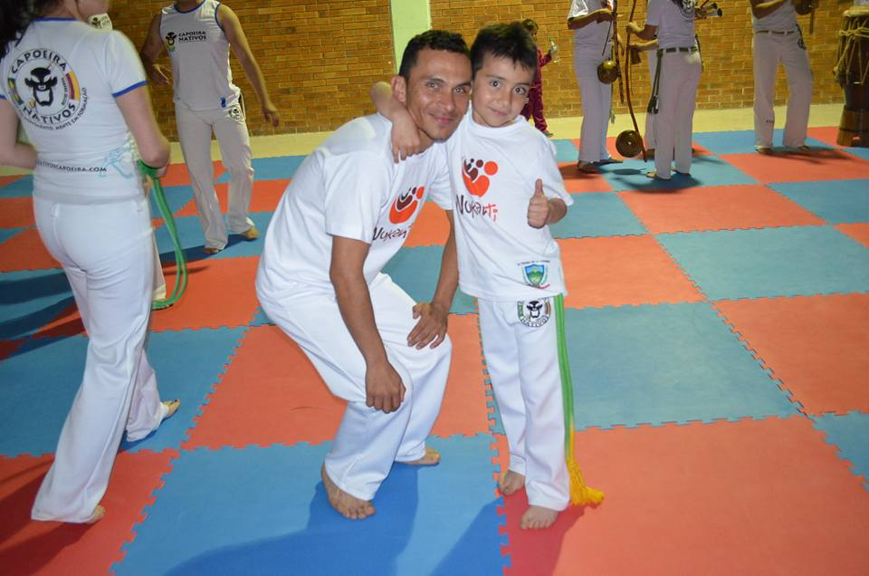 Father and son who both attend the Capoeira classes