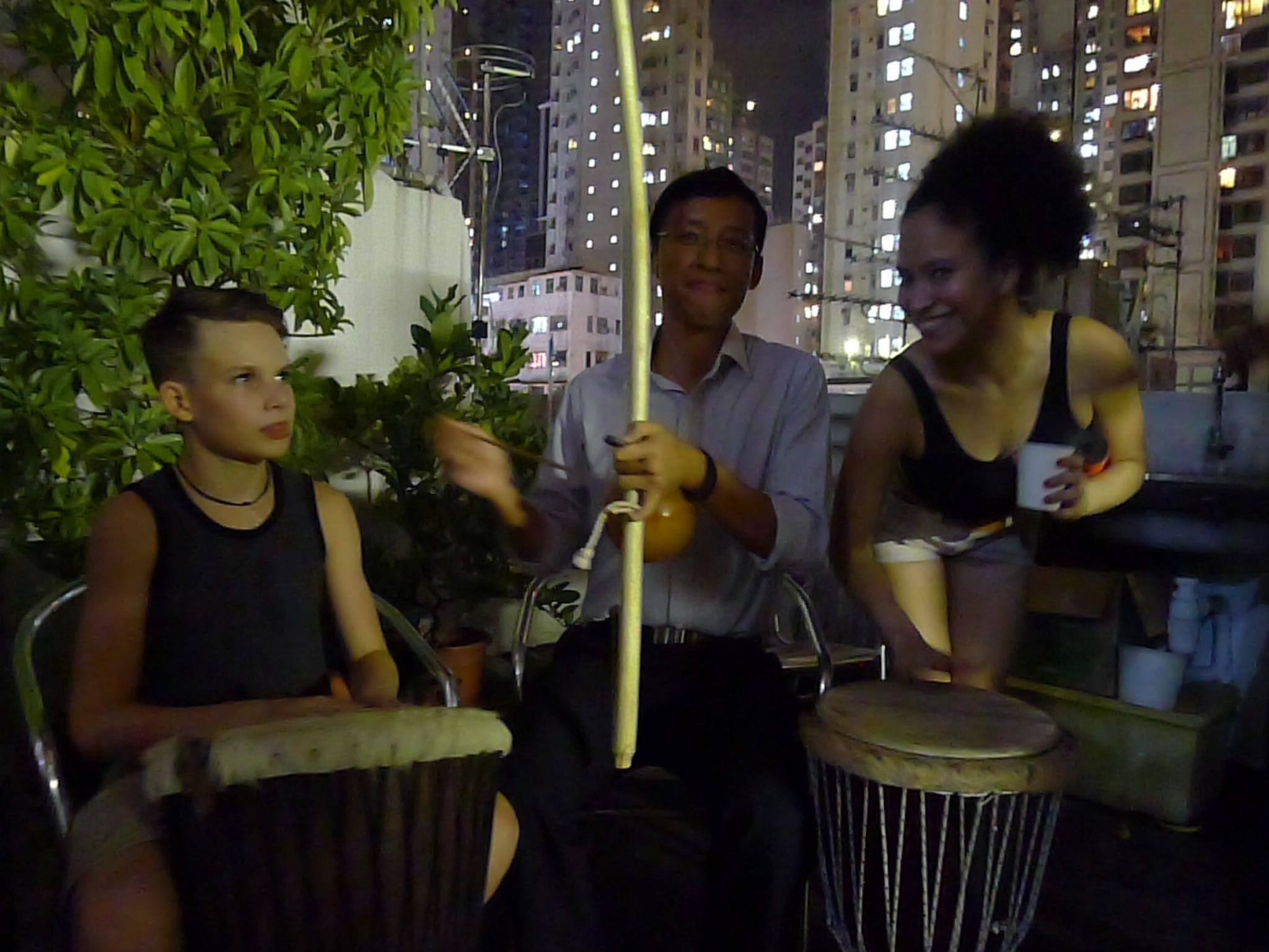 Fundraiser in Hong Kong for Nukanti's Capoeira program Playing for Freedom, with dancing, drumming and Capoeira among other activities.