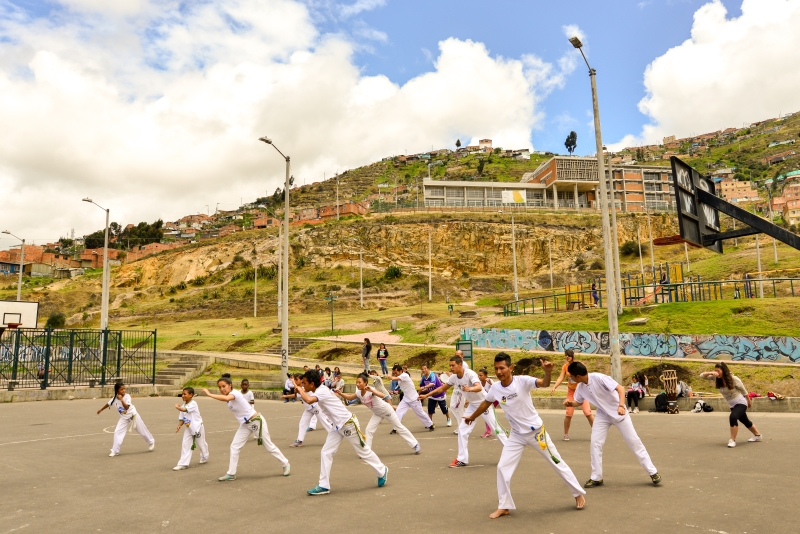 Participants in Nukanti's Capoeira program Playing for Freedom in Ciudad Bolívar, on the outskirts of Bogotá.