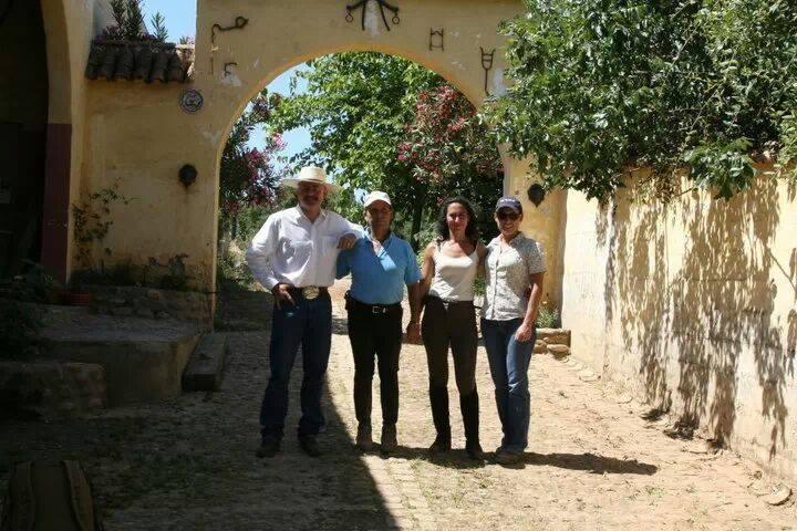 Katrina and Jeff Sanders with Doma Vaquera and Doma Classica trainers Antonio Osuna and Lola Granados - Cordoba, Spain