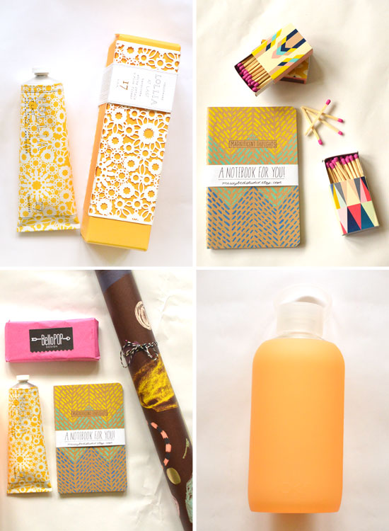 Lollia Hand Lotion // Messy Bed Studio Notebook// Bello Pop Print Shop Matches// The Souvenir Society Paper// BKR Water Bottle