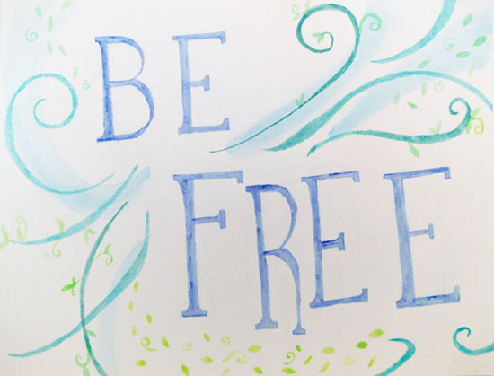 be free - handlettering