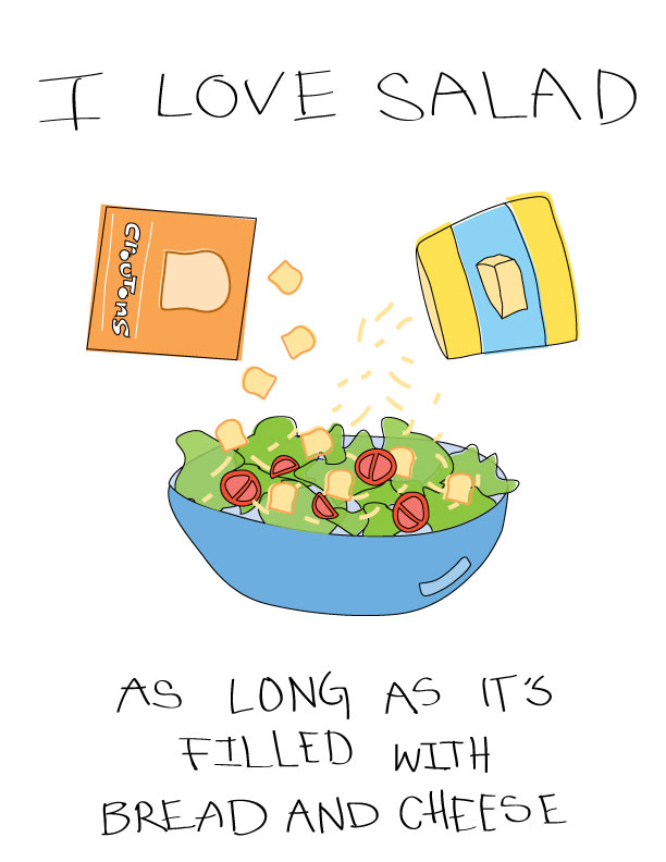 i love salad - as long as its filled with bread and cheese // blog-action