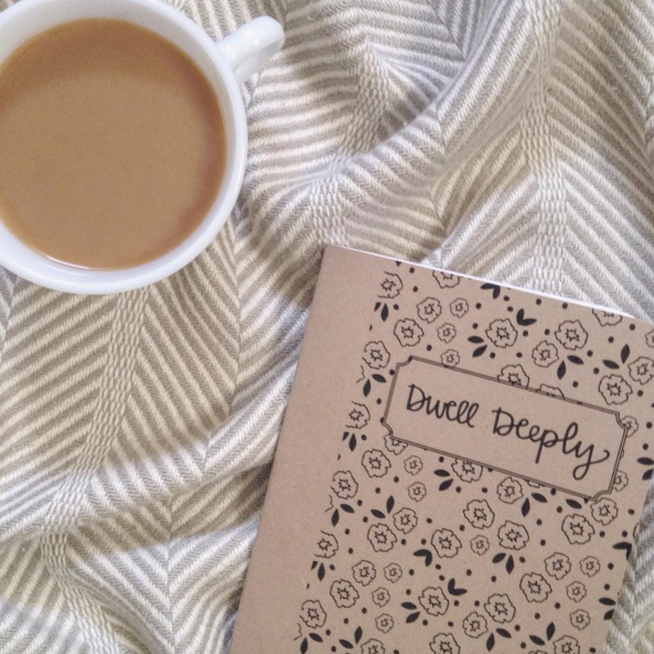 Olivia @omgwalls enjoys her Dwell Deeply Quiet Time Journal with a cup of coffee!