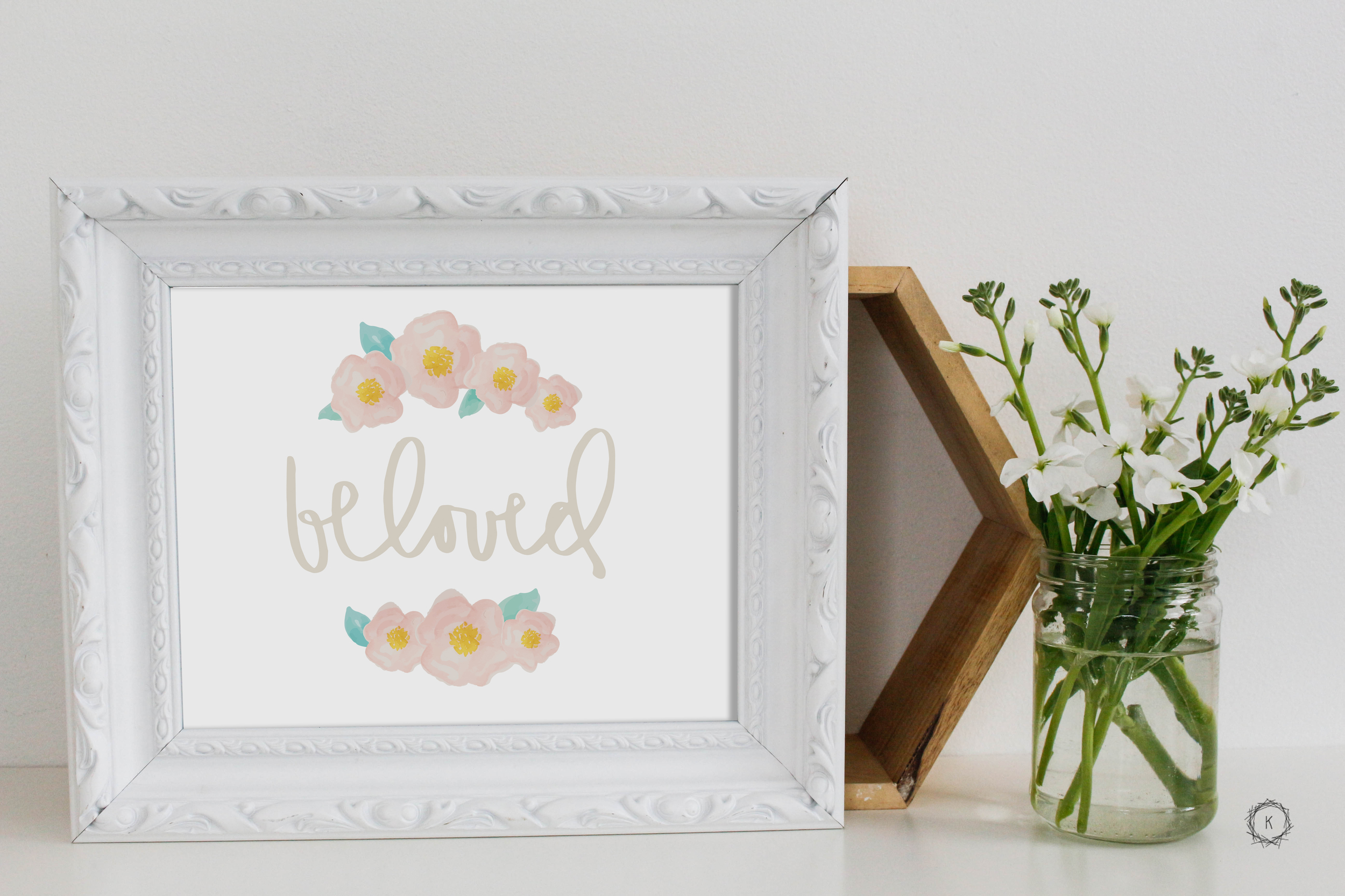 Beloved Art Print // Hand Lettered Print + Watercolor Flowers