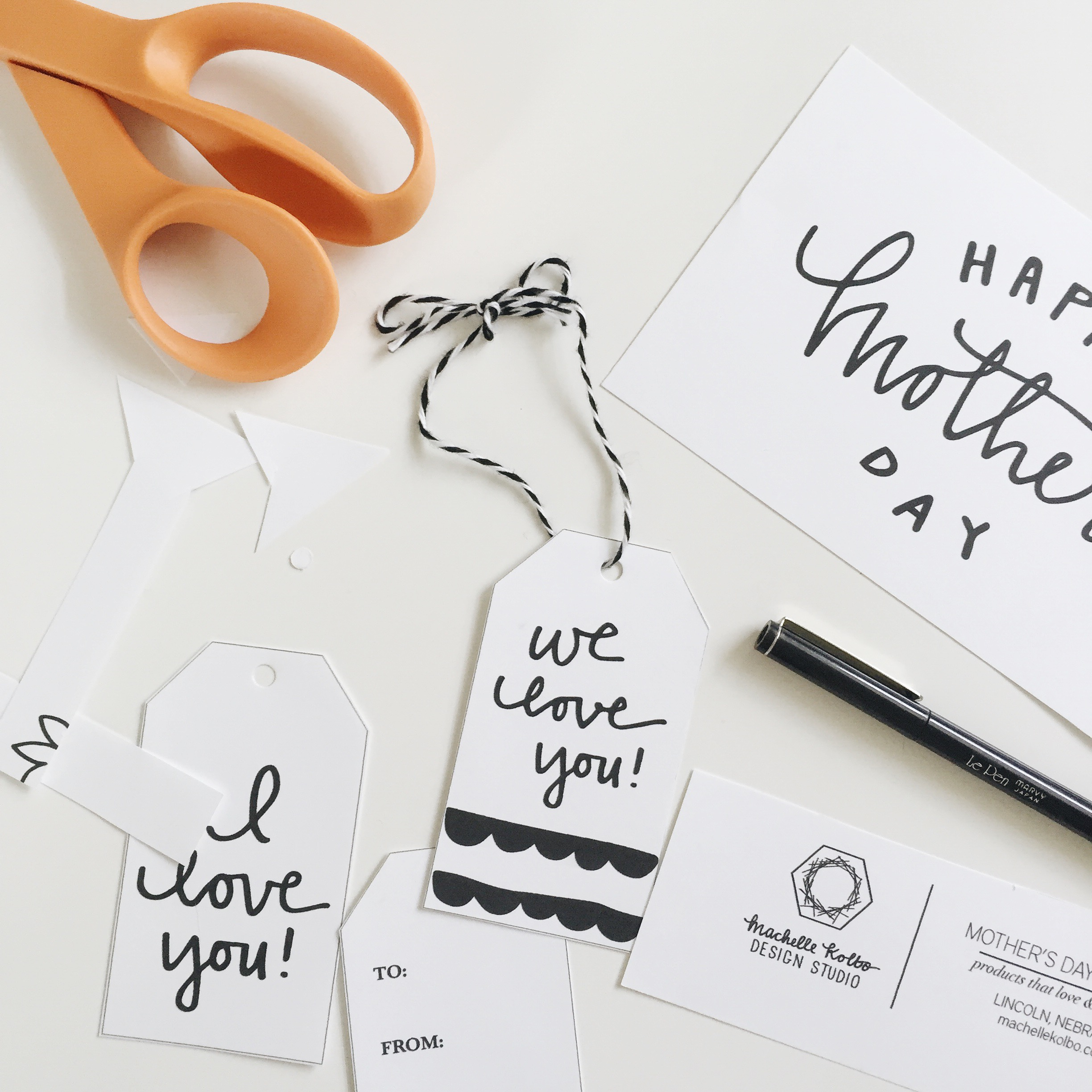 Grab your scissors and string to make these easy gift tags // Mother's Day Freebie // Machelle Kolbo Design Studio.