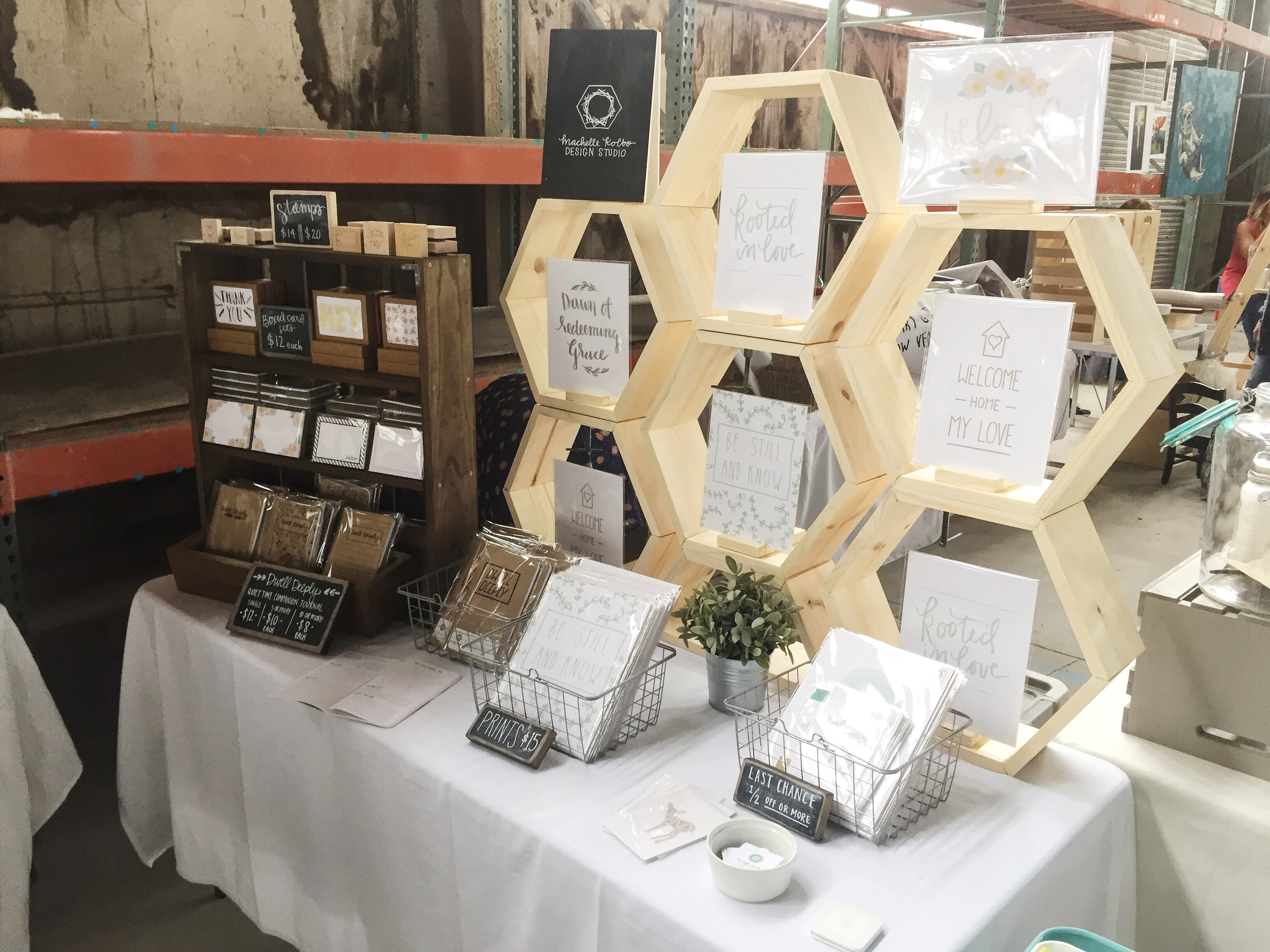 Stackable Wooden Hexagon Display // Machelle Kolbo Design Studio