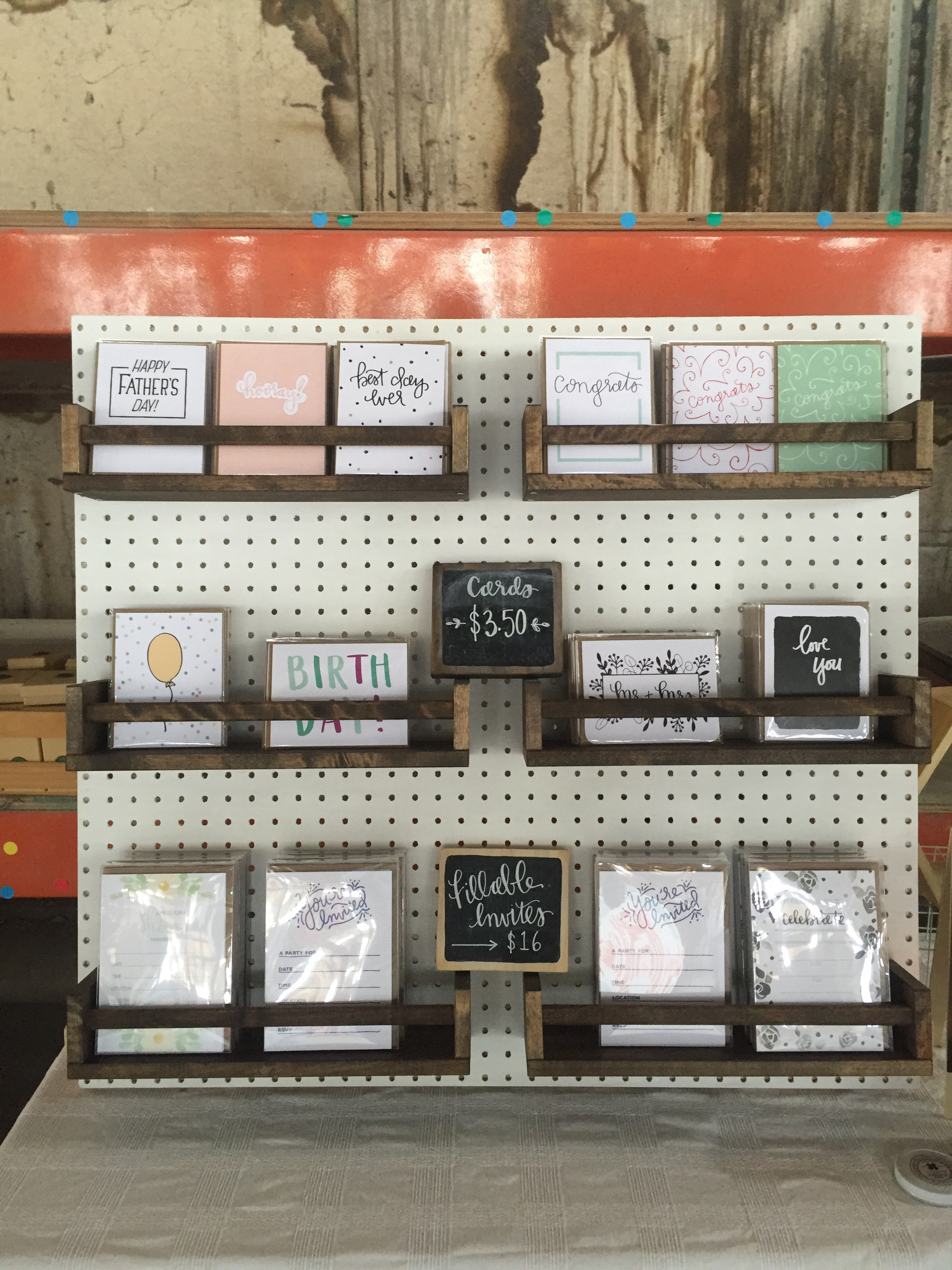Machelle Kolbo Design Studio Pegboard Card Display
