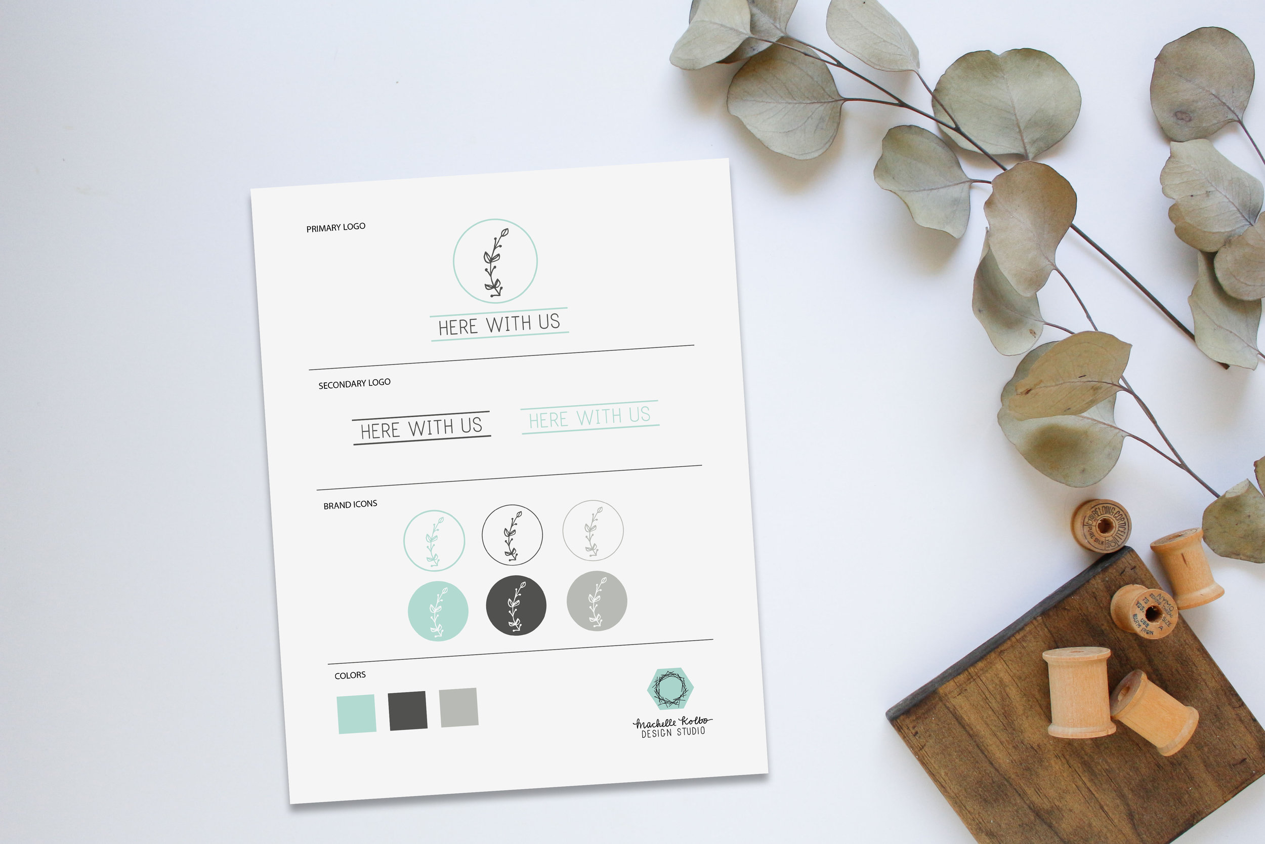 Here With Us Branding Sheet // Machelle Kolbo Design Studio