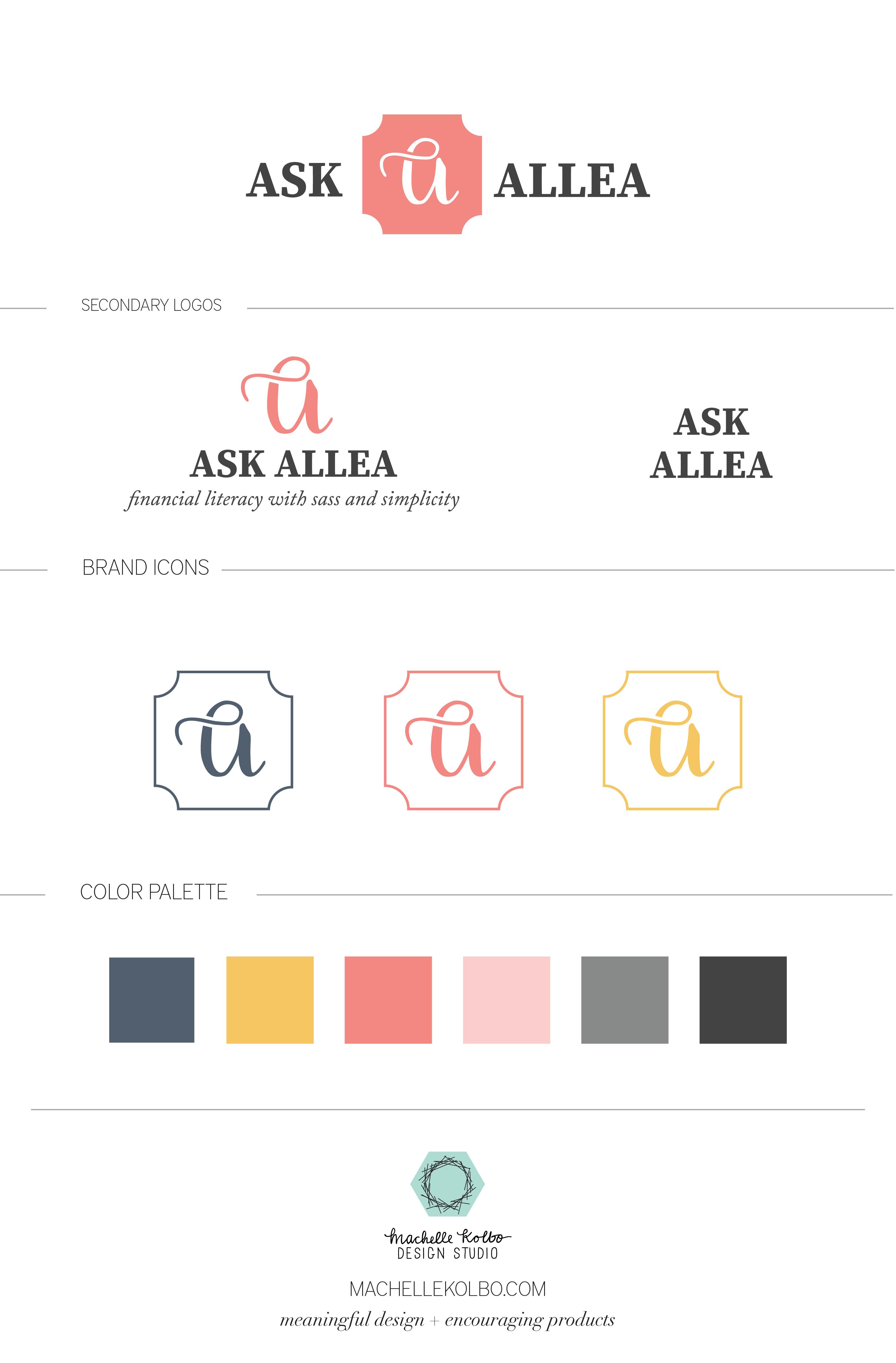 Ask Allea Brand Identity Style Guide | Machelle Kolbo Design Studio