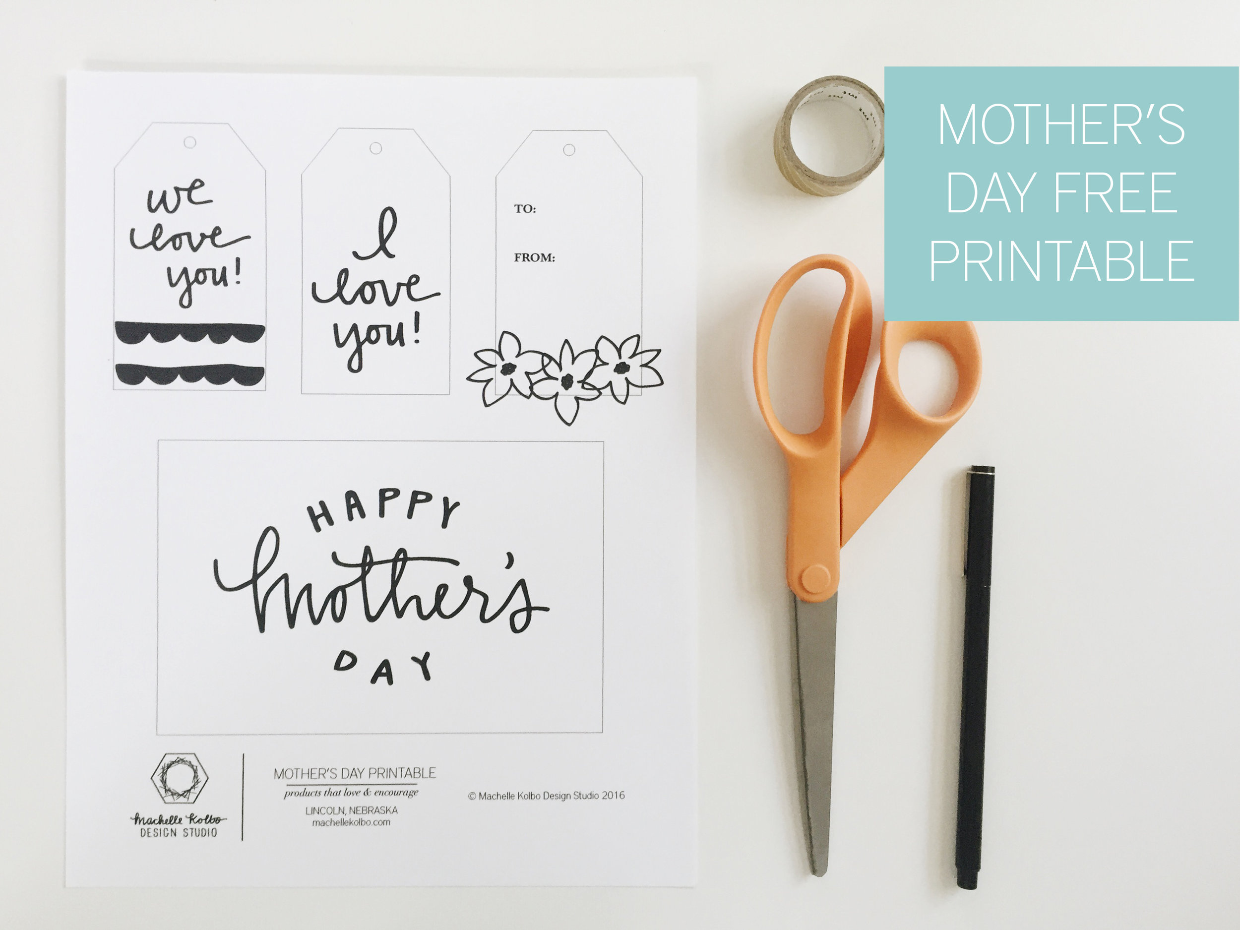 Mother's Day Free Printable Card and Gift Tags | Machelle Kolbo Design Studio