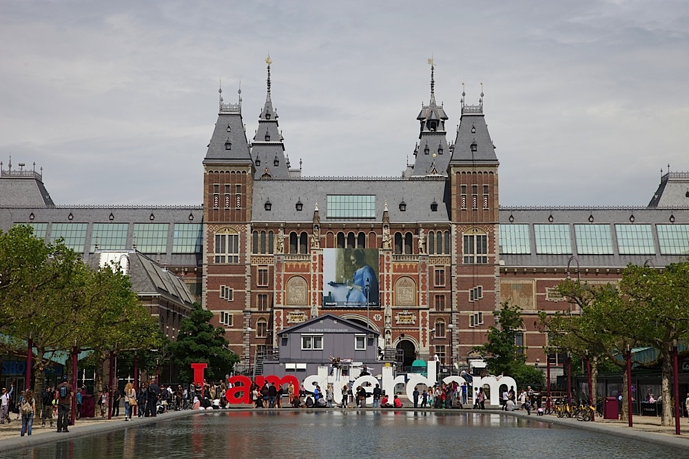 "The Rijksmuseum with the famous ""I amsterdam"" sign in Amsterdam, The Netherlands."