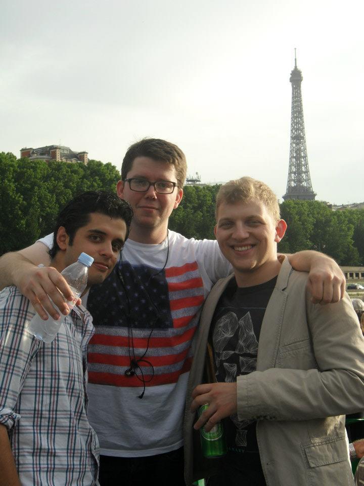 Riding on a Bateaux-Mouche with friends Francisco and Toni.