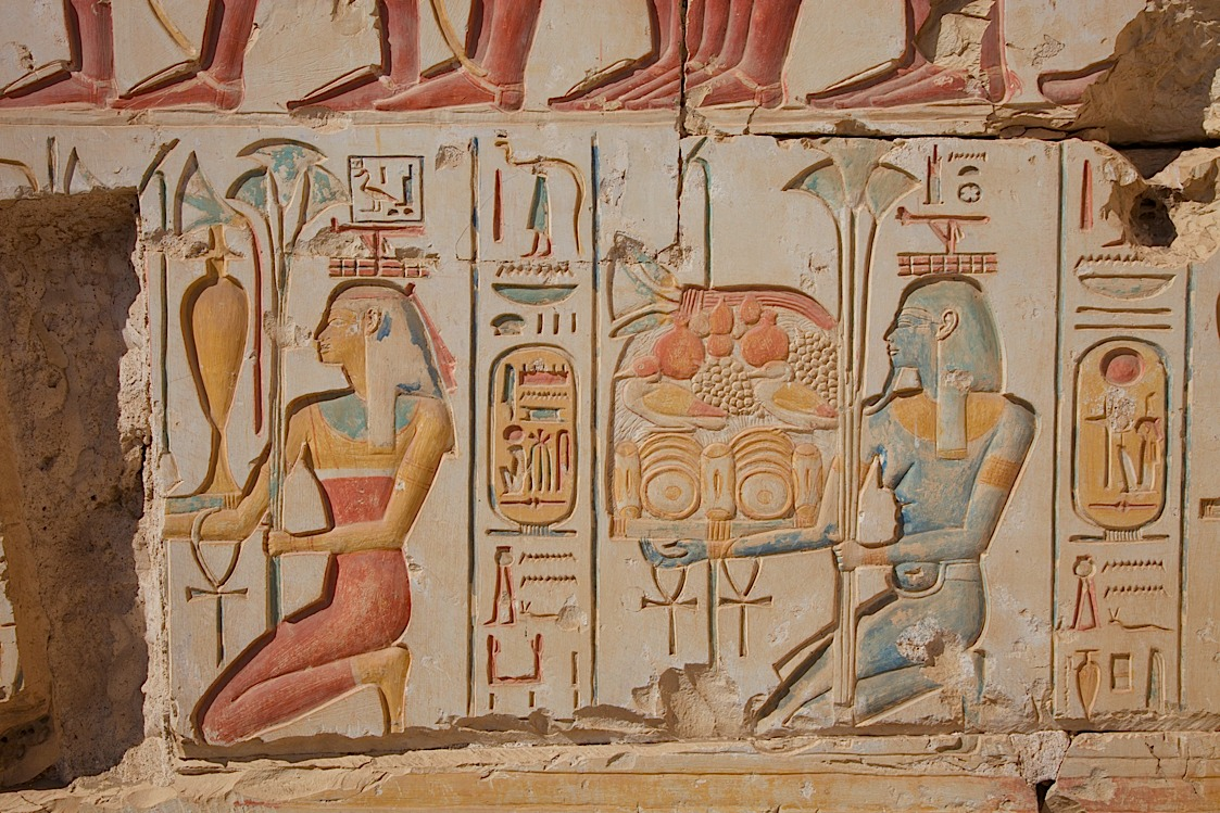 Carving with ORIGINAL paint at some unpopular temple next to Abydos, about 3hrs from Luxor.