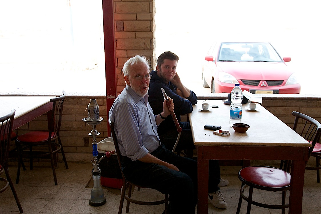 Dad trying some bedouin-style shisha on the drive to Siwa. Clarifying for the shisha virgins -- it's just tobacco.