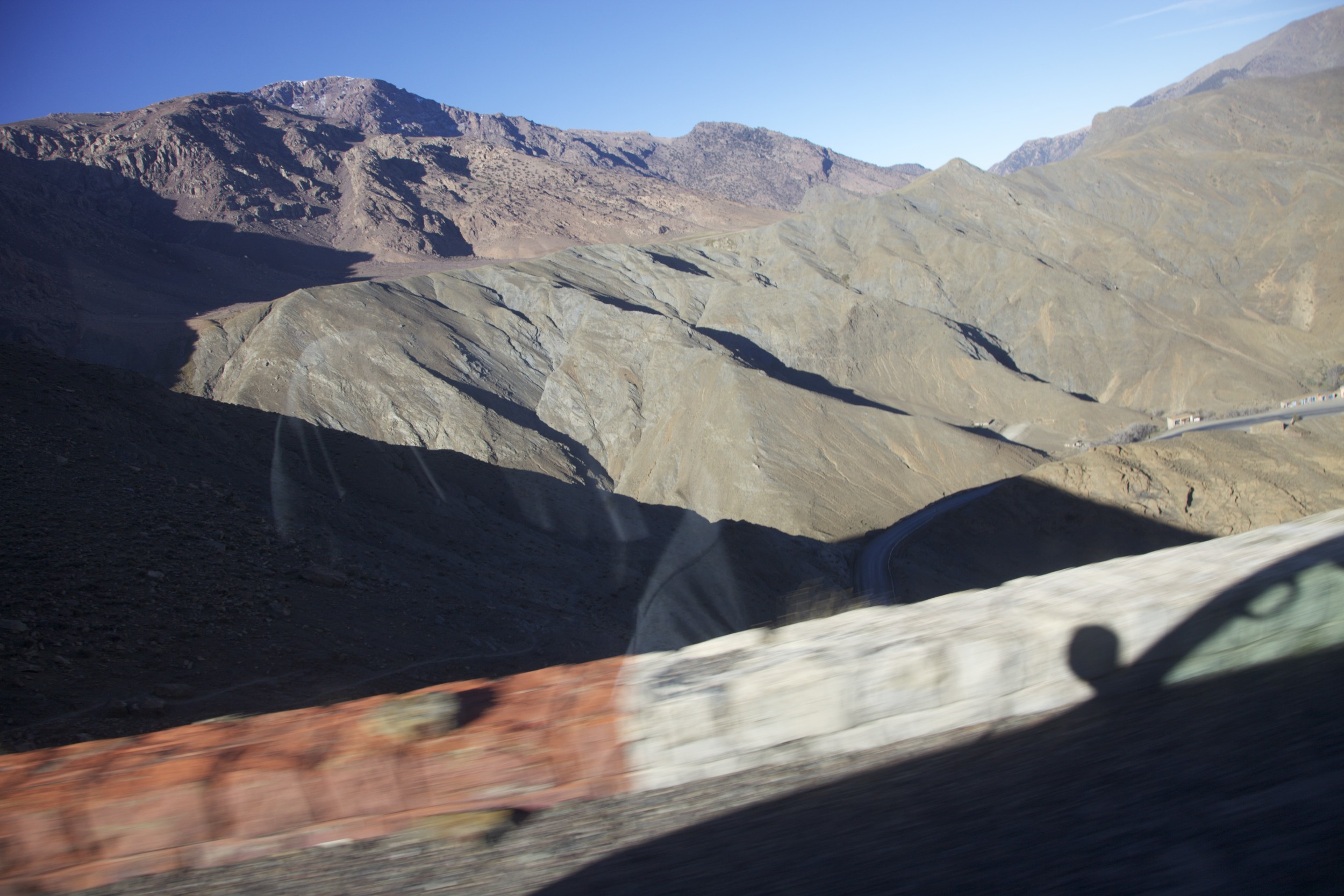 On the road from Marrakech to M'Hamid.  Note the lack of guardrail and sheer 200 foot drop.