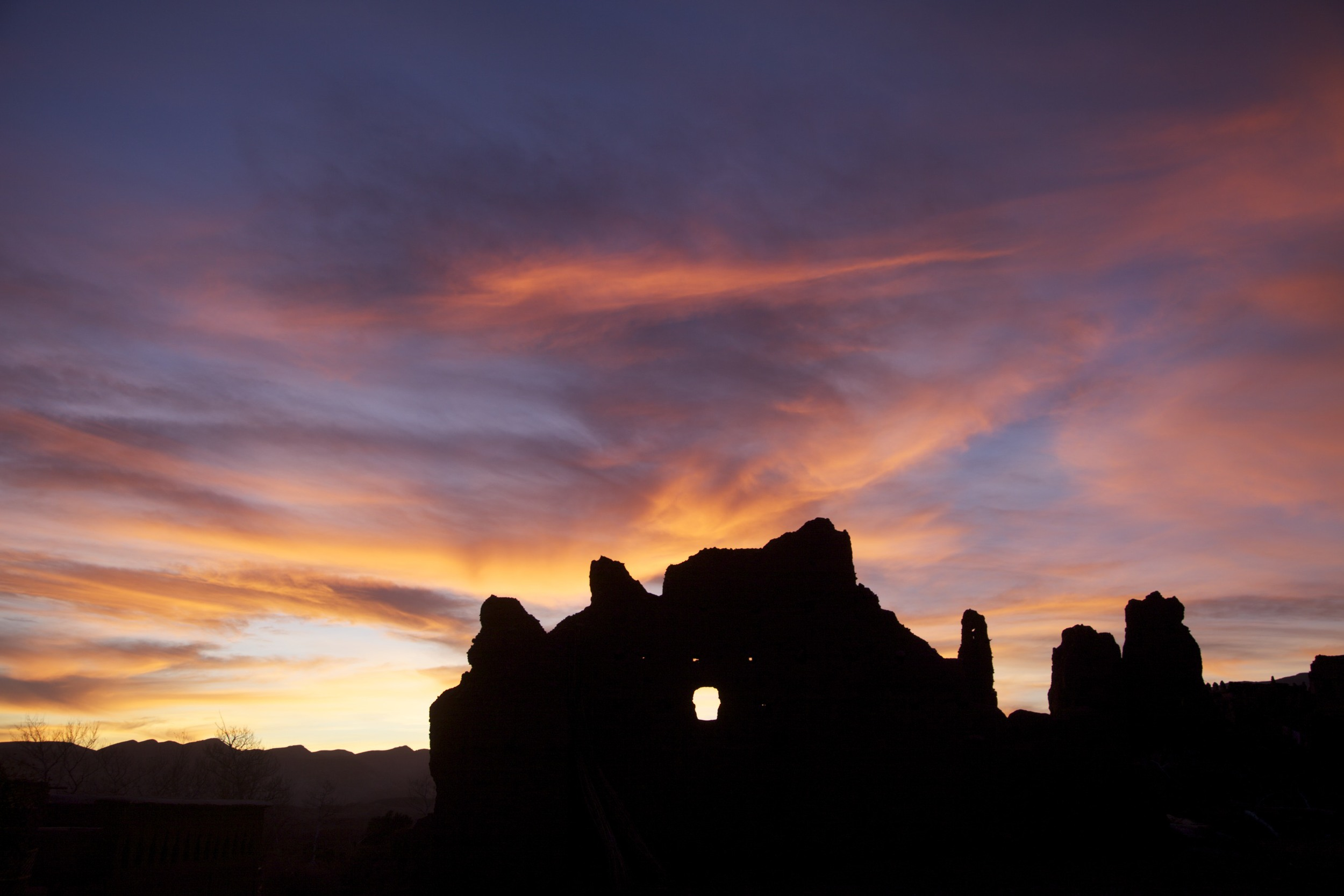 Sunset over the ruins of Telouet kasbah on the way back to Marrakech.