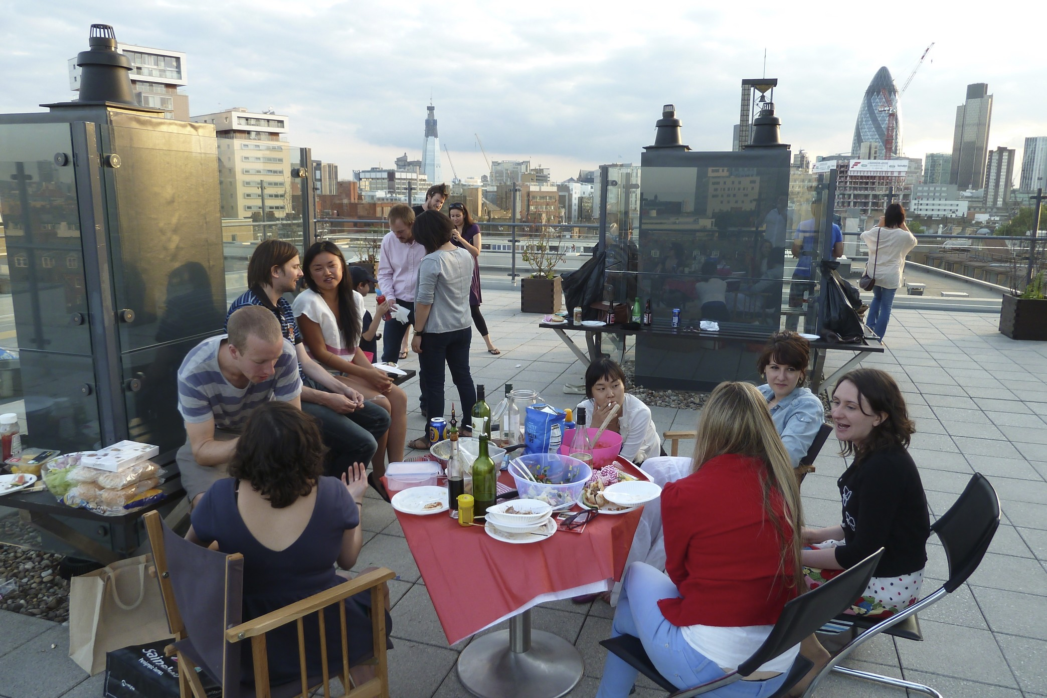 Fourth of July BBQ on Rishi's roof. Gerkin and Shard visible in the background.