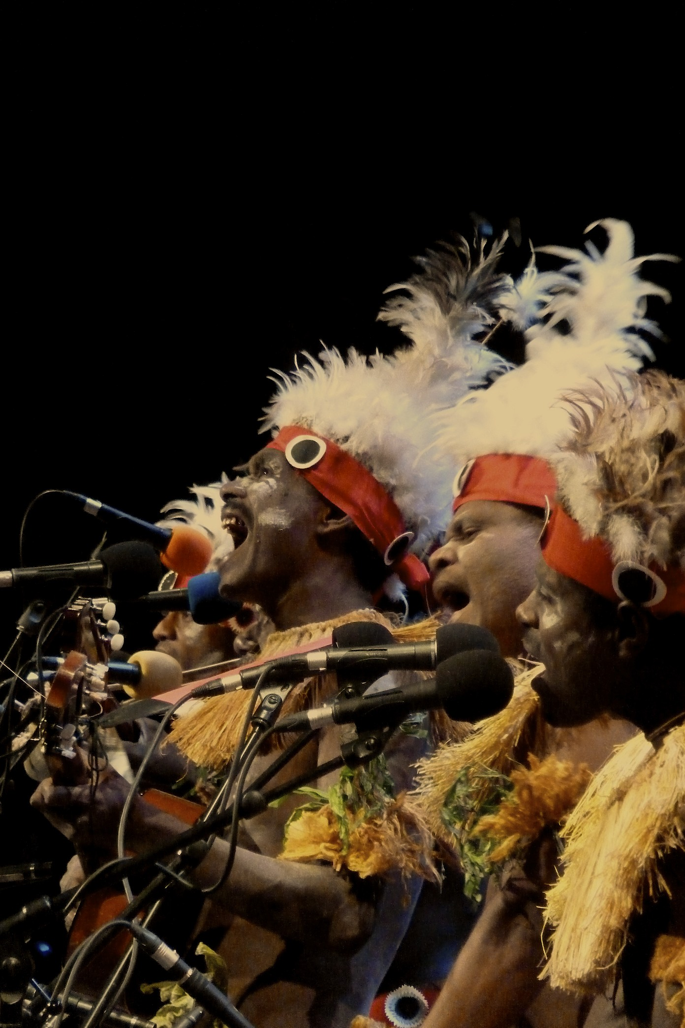 """Papua New Guinean men perform at BBC's Music from """"Human Planet"""" Prom at the Royal Albert Hall."""