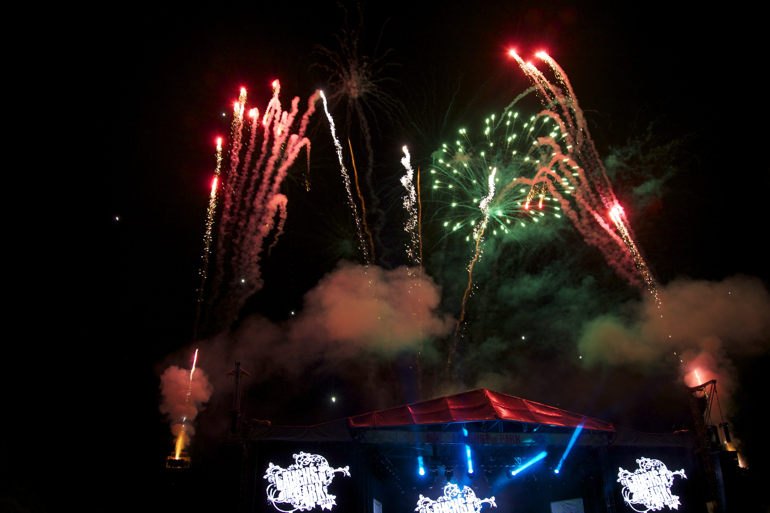 """Fireworks end """"Laughs in the Park"""" in St. Albans."""