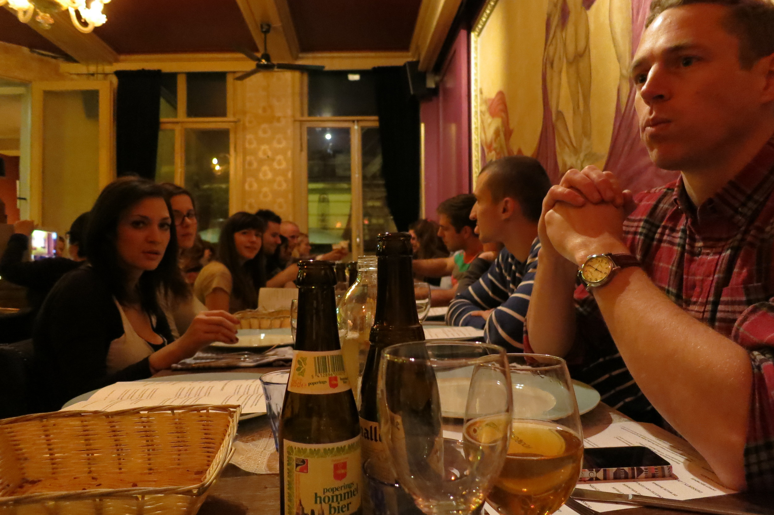 A big unofficial group dinner at a Belgian restaurant called Lieve. (Amsterdam, The Netherlands.)
