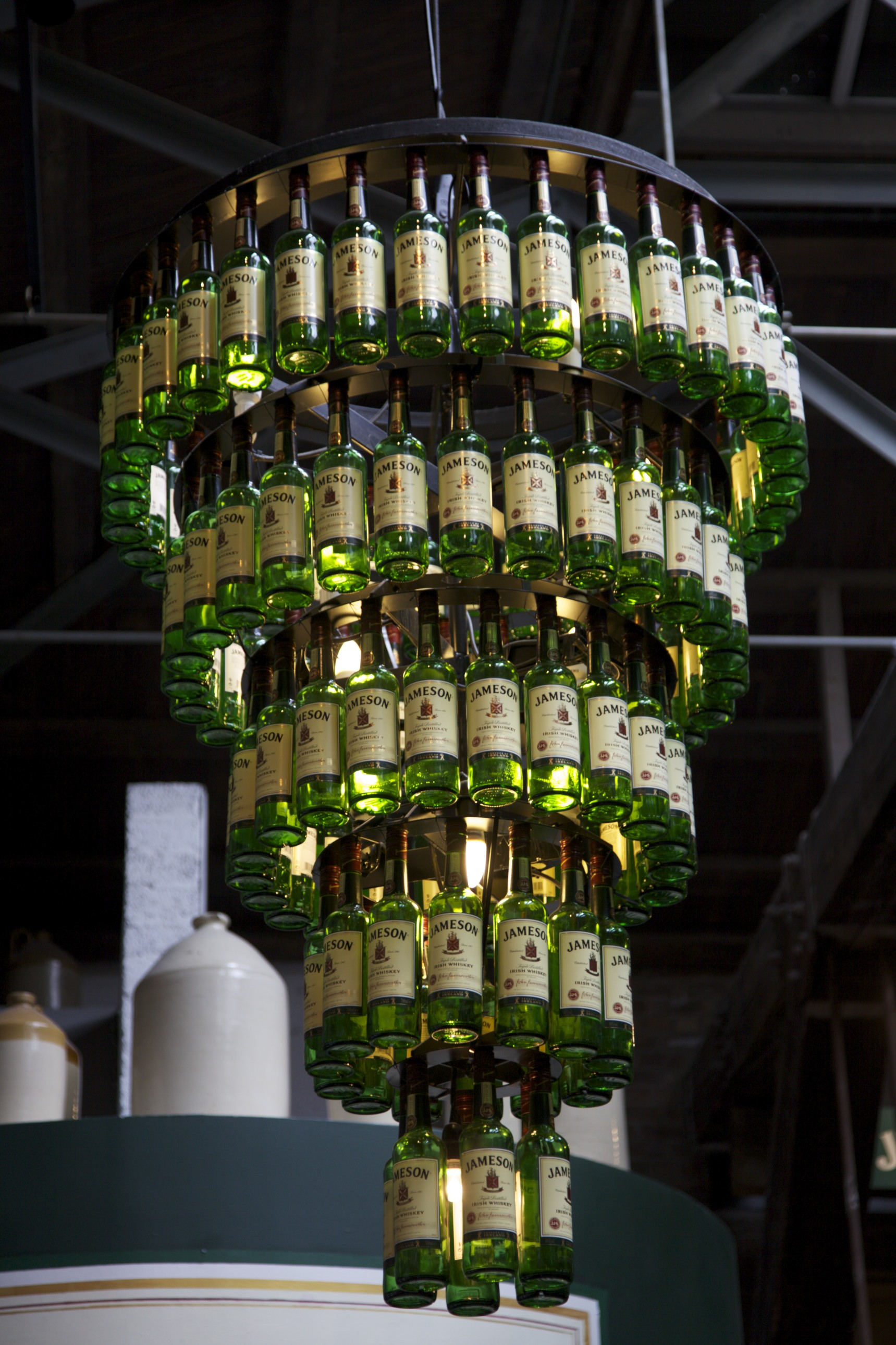 An alcoholic chandelier at the Jameson whiskey distillery.  (Dublin, Ireland.)