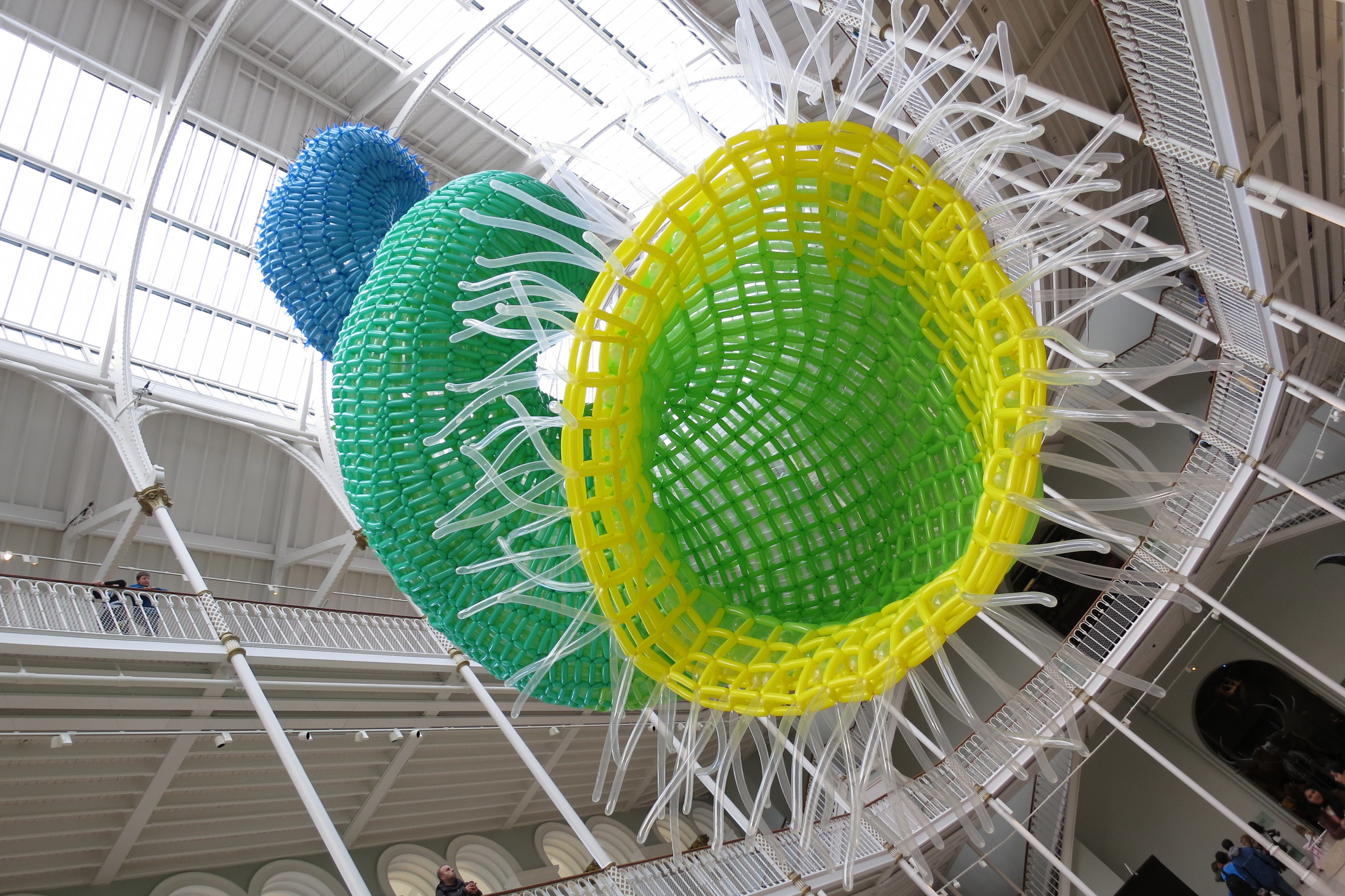 "A closeup of the cool giant ""sculpture"" made of tied-together balloons.  (The National Museum of Scotland, Edinburgh, Scotland.)"