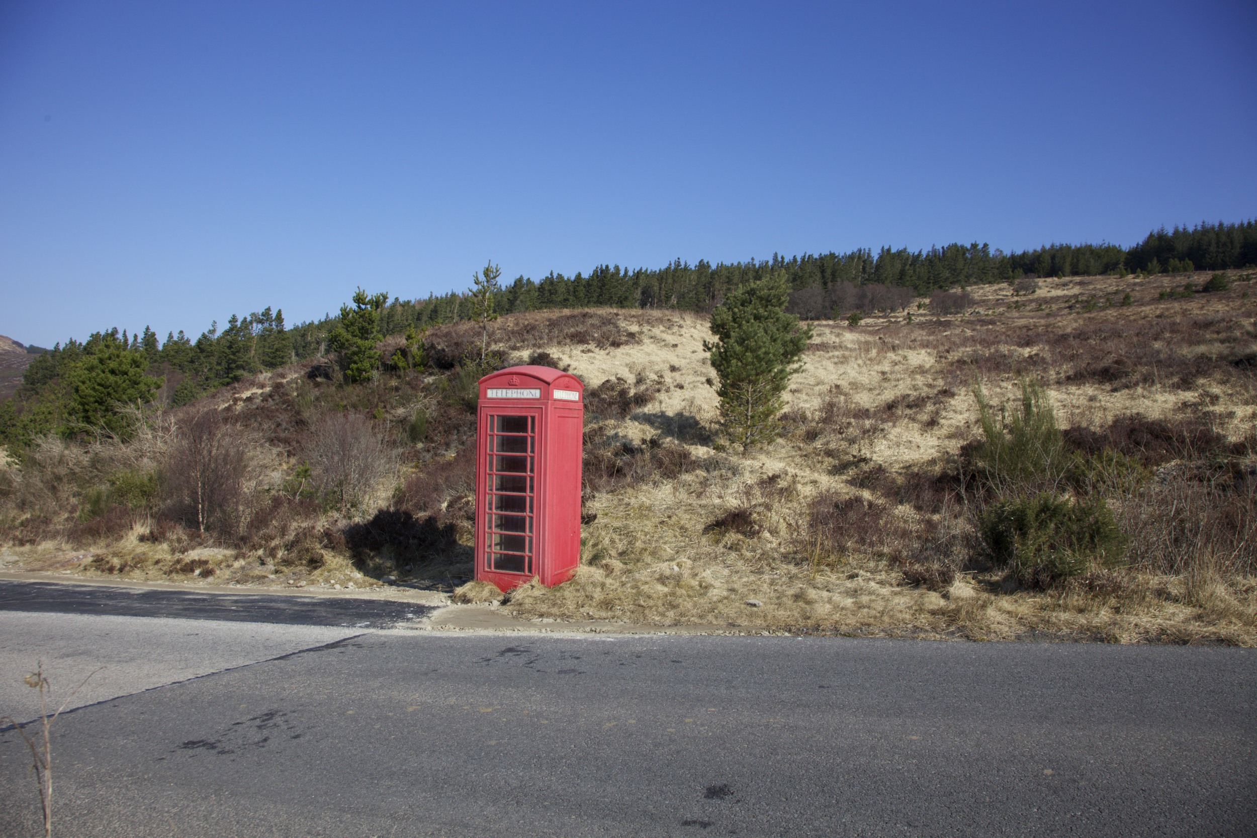 A conspicuous phone booth on the drive from Ullapool to John O'Groats.  (Scotland.)