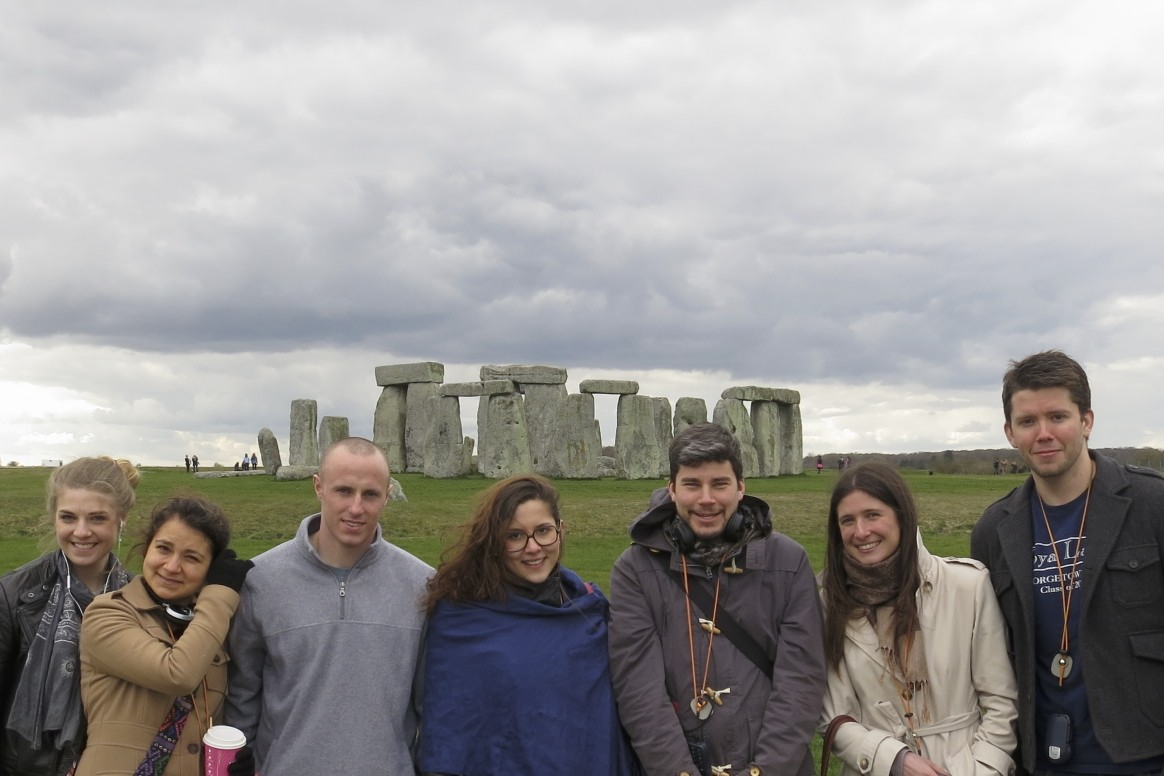 Friends and me at Stonehenge.  (England.)