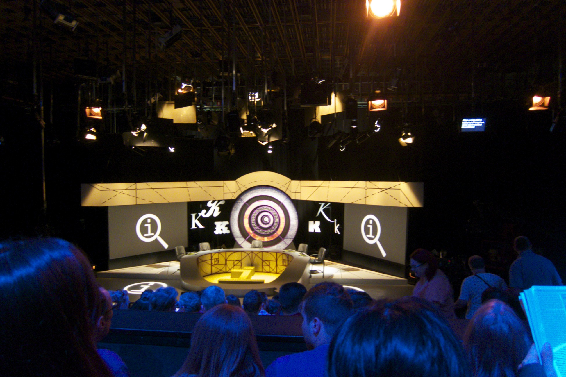 "A BBC taping of ""QI,"" maybe my favorite TV show, yesterday.  (London, England.)"