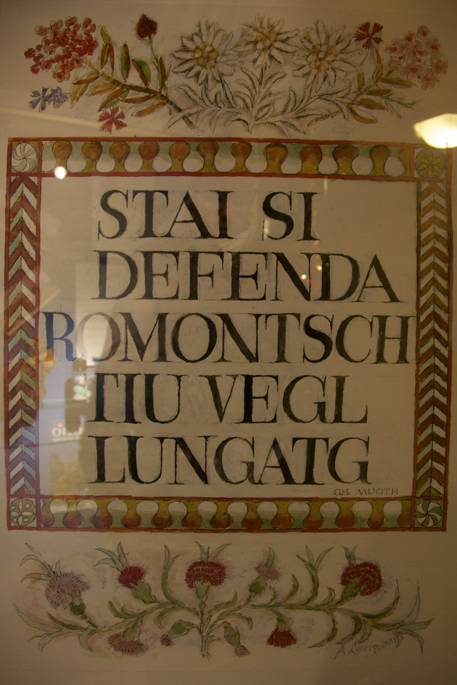 """Sign at the Hotel La Val, which I think must mean something like, """"Ensure that you defend Romansch as your native language."""""""