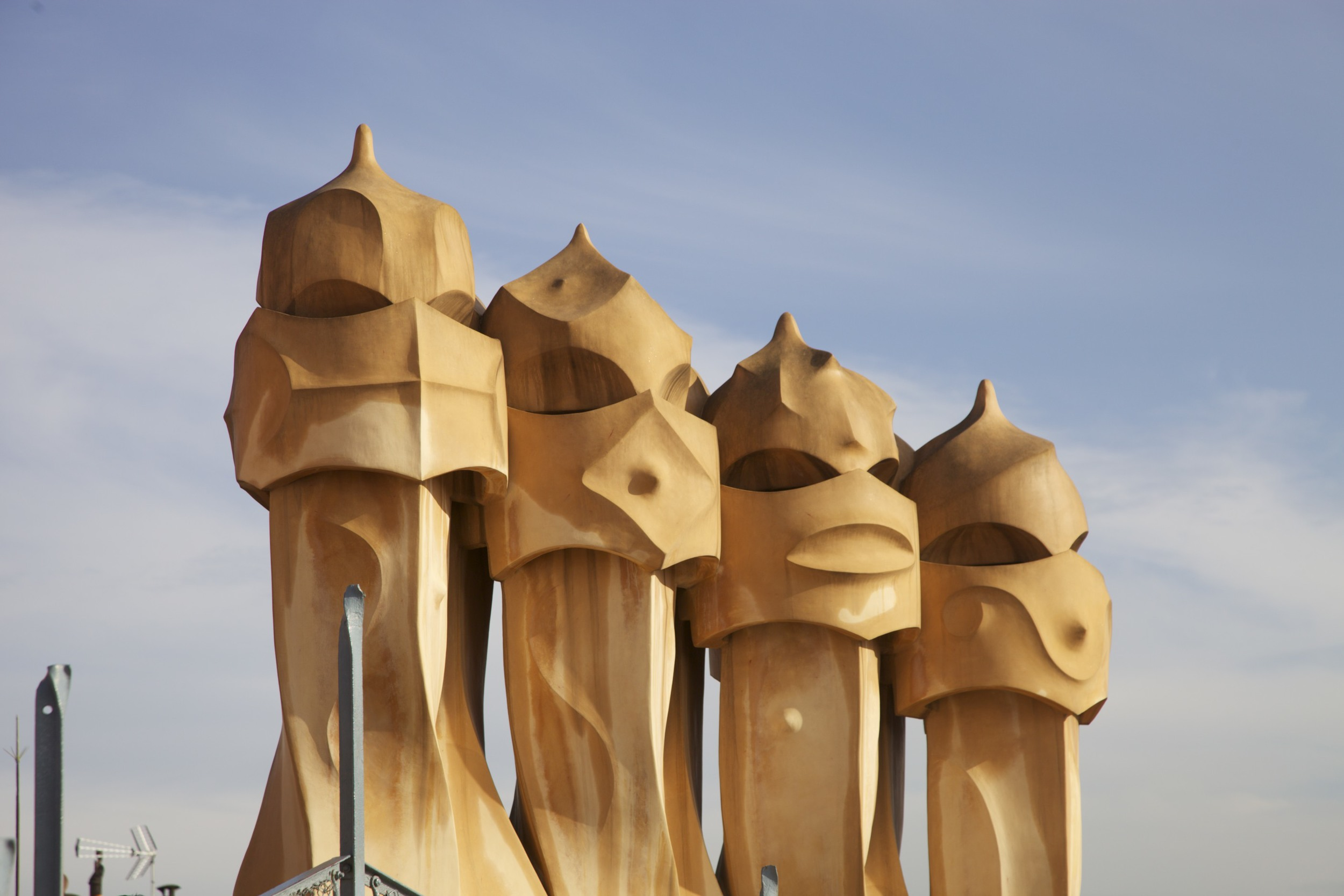 Chimneys on the roof of La Pedrera by Gaudí.