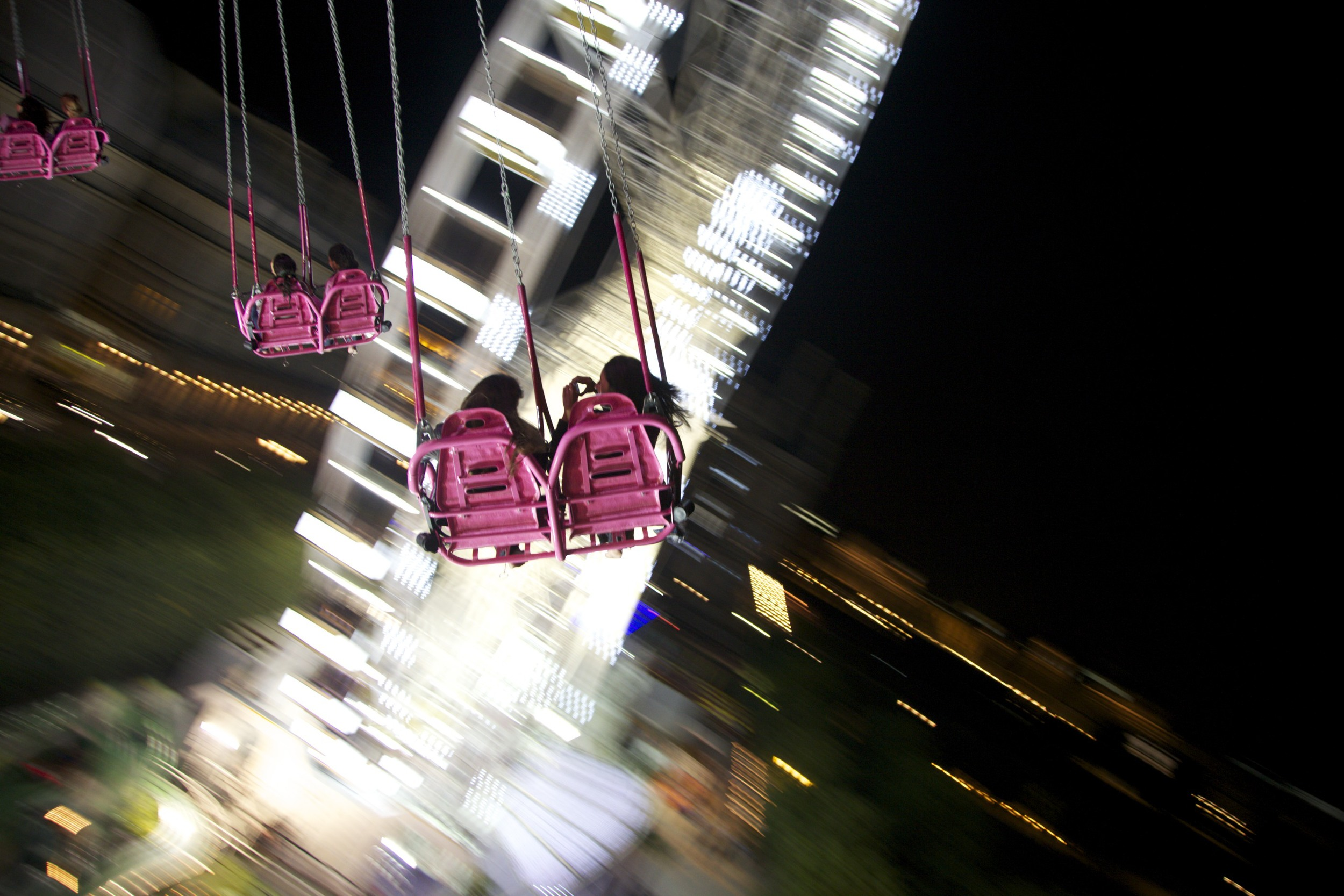 Riding the Air Swing at the carnival.